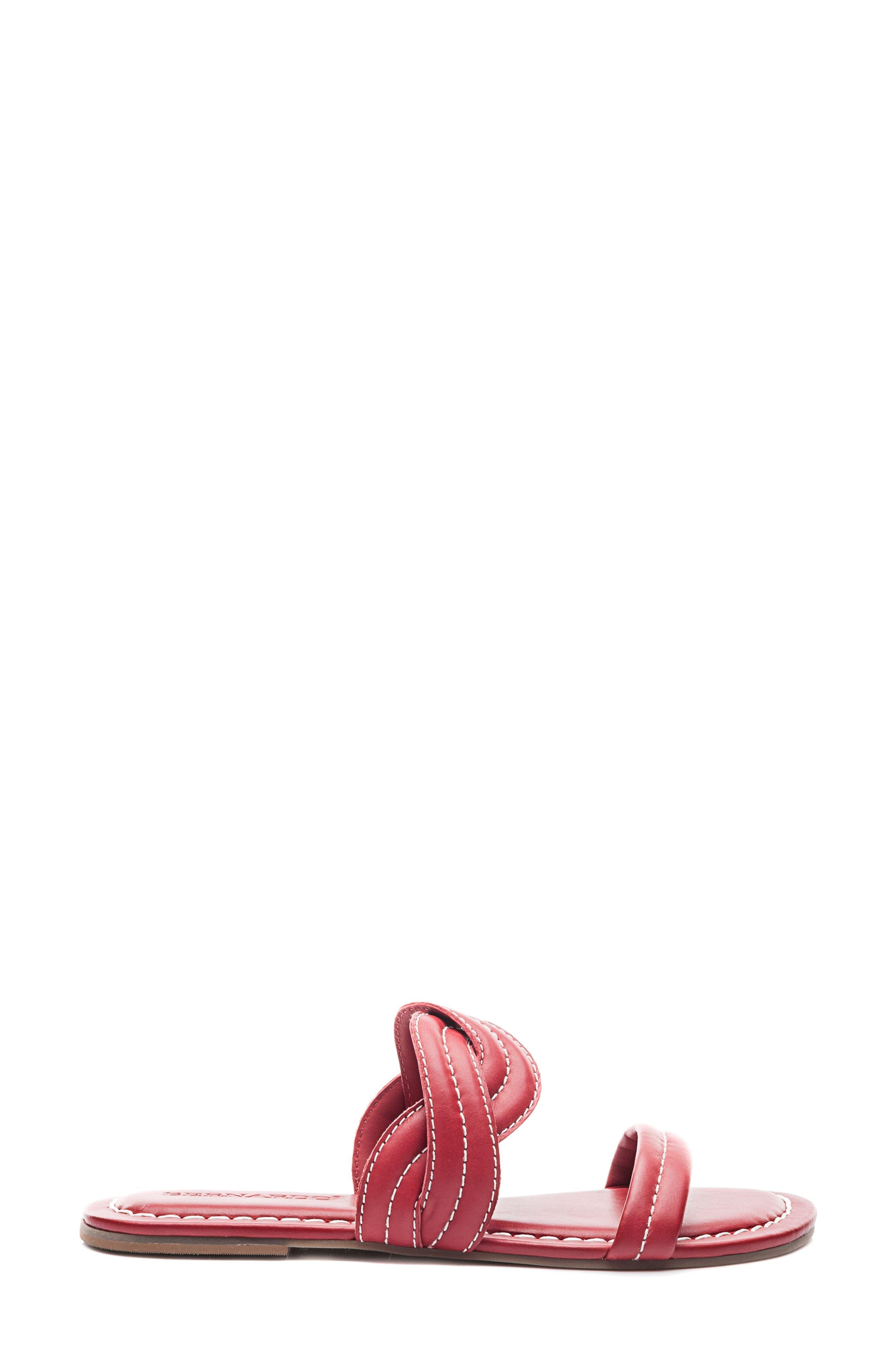 Bernardo Mirian Slide Sandal,                             Alternate thumbnail 3, color,                             Red Leather