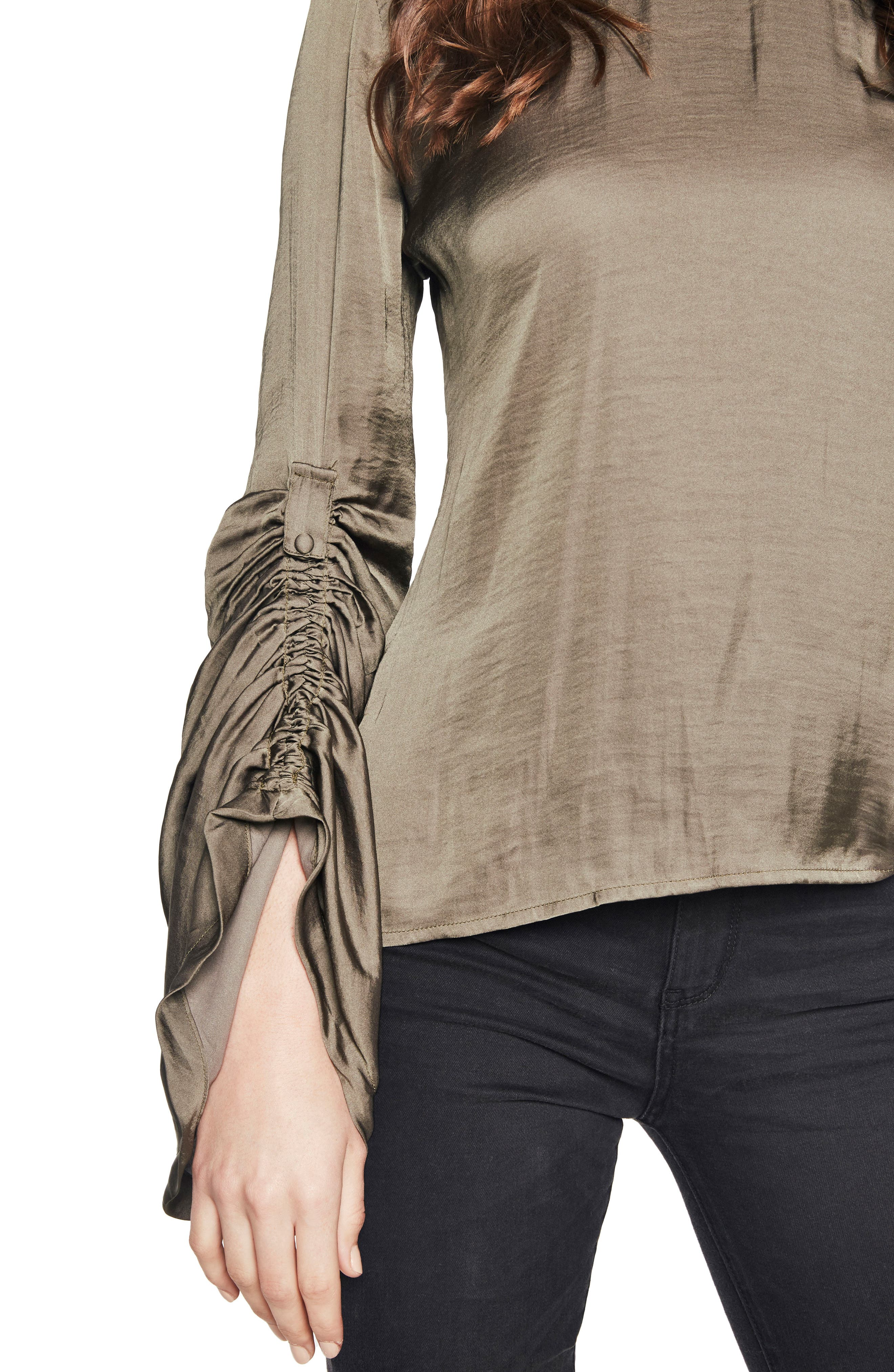 Lulu Ruched Sleeve Top,                             Alternate thumbnail 4, color,                             Khaki