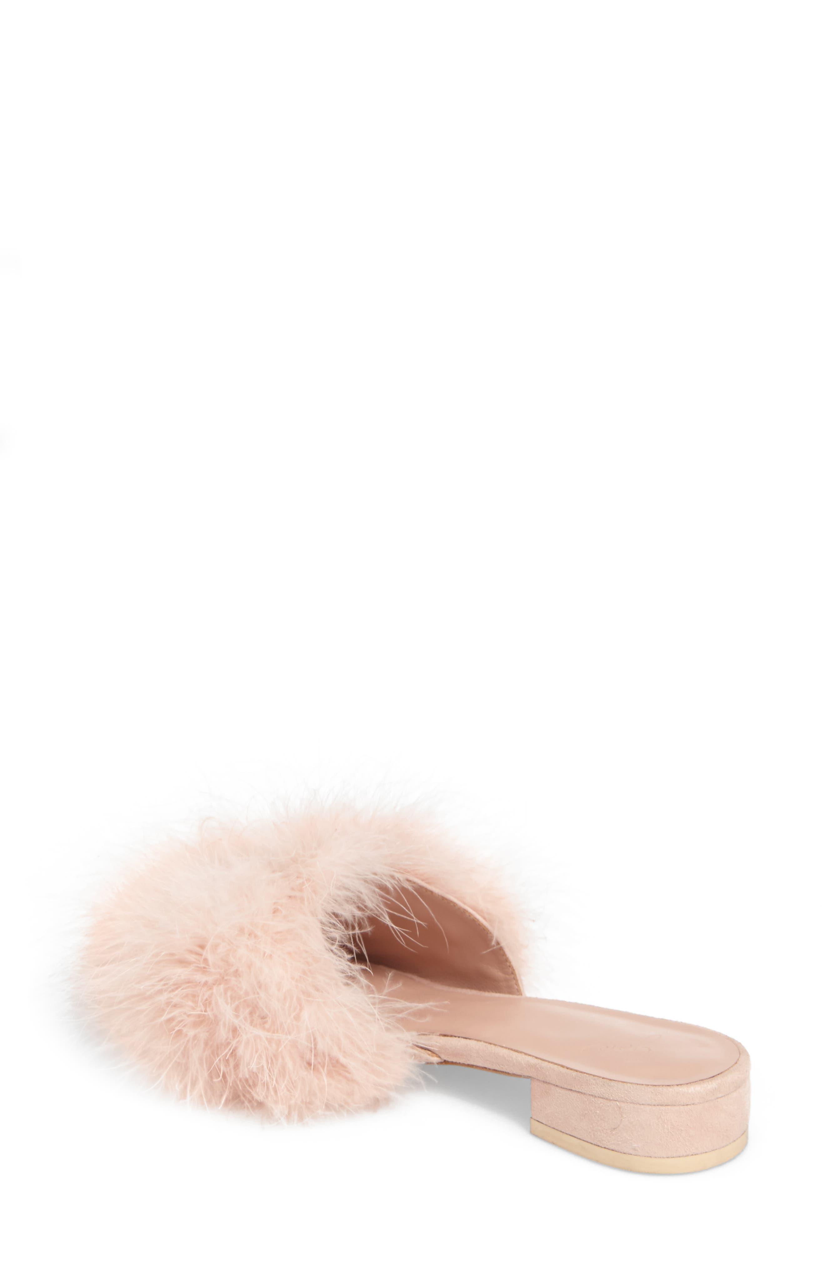Mani Feather Slide Sandal,                             Alternate thumbnail 2, color,                             Ballet