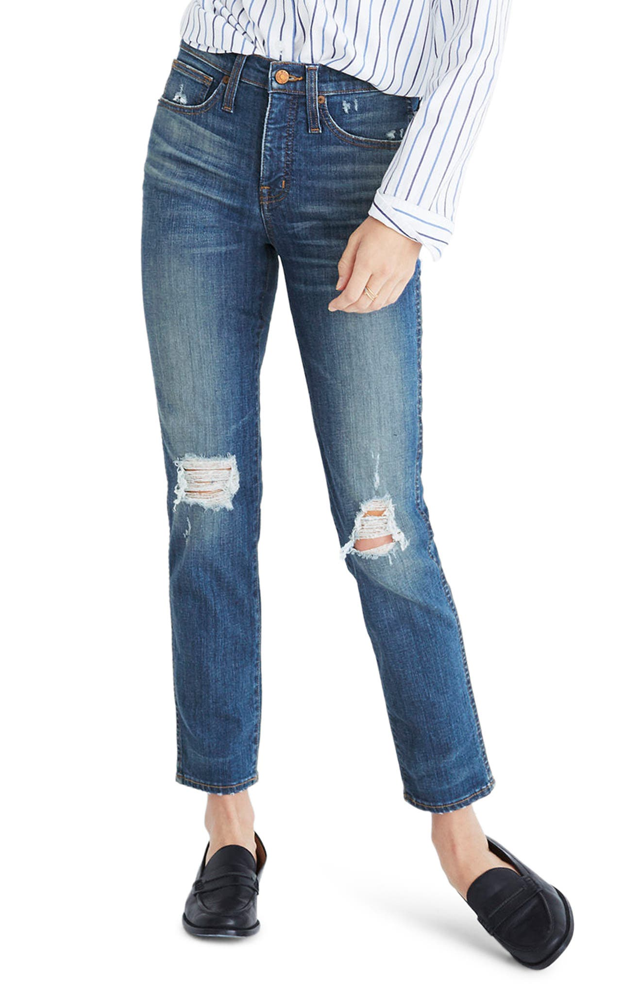 Main Image - Madewell Distressed Slim Straight Leg Jeans (Forster Wash)