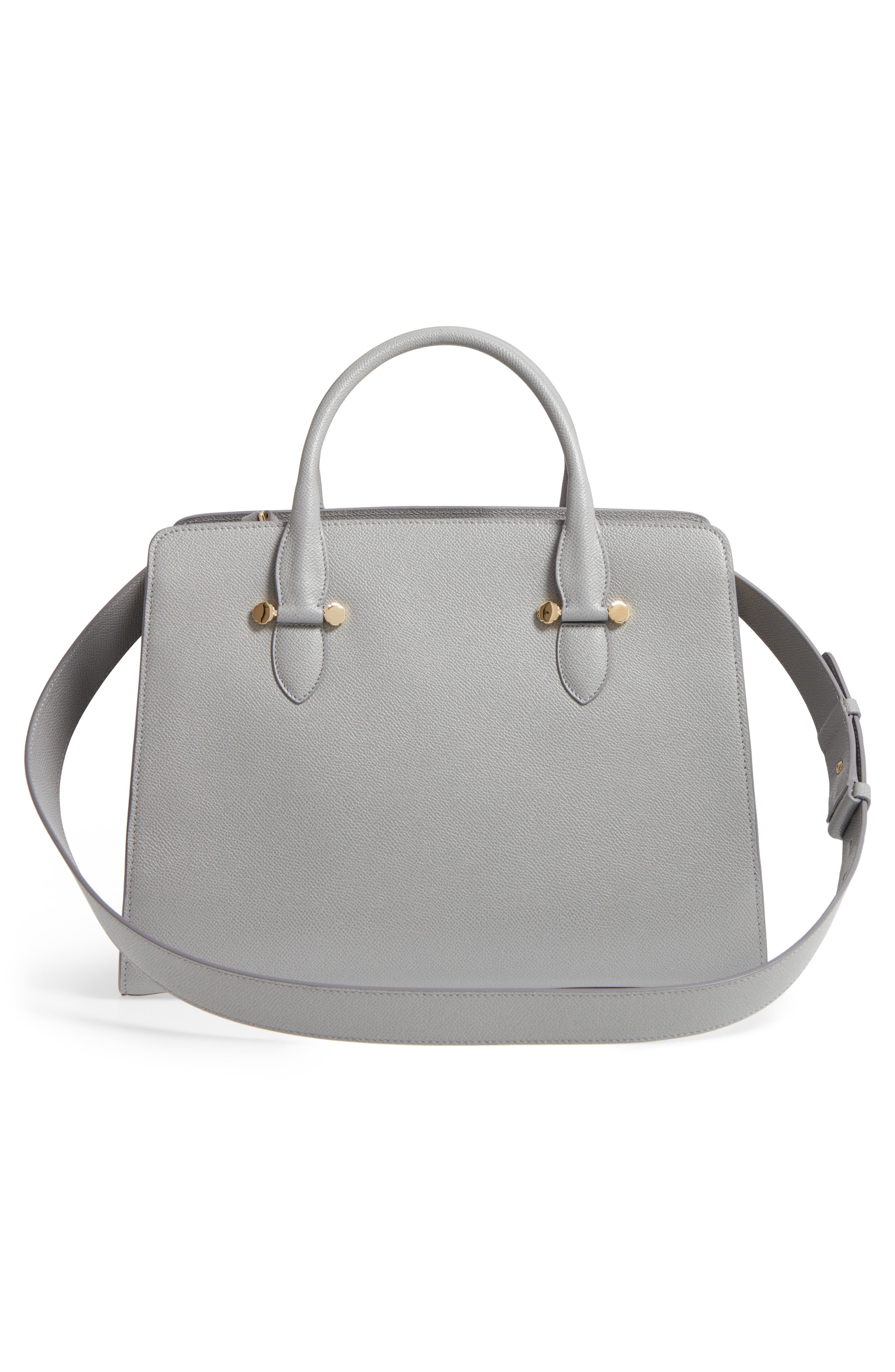 Small Today Leather Satchel,                             Alternate thumbnail 3, color,                             Fossil Grey