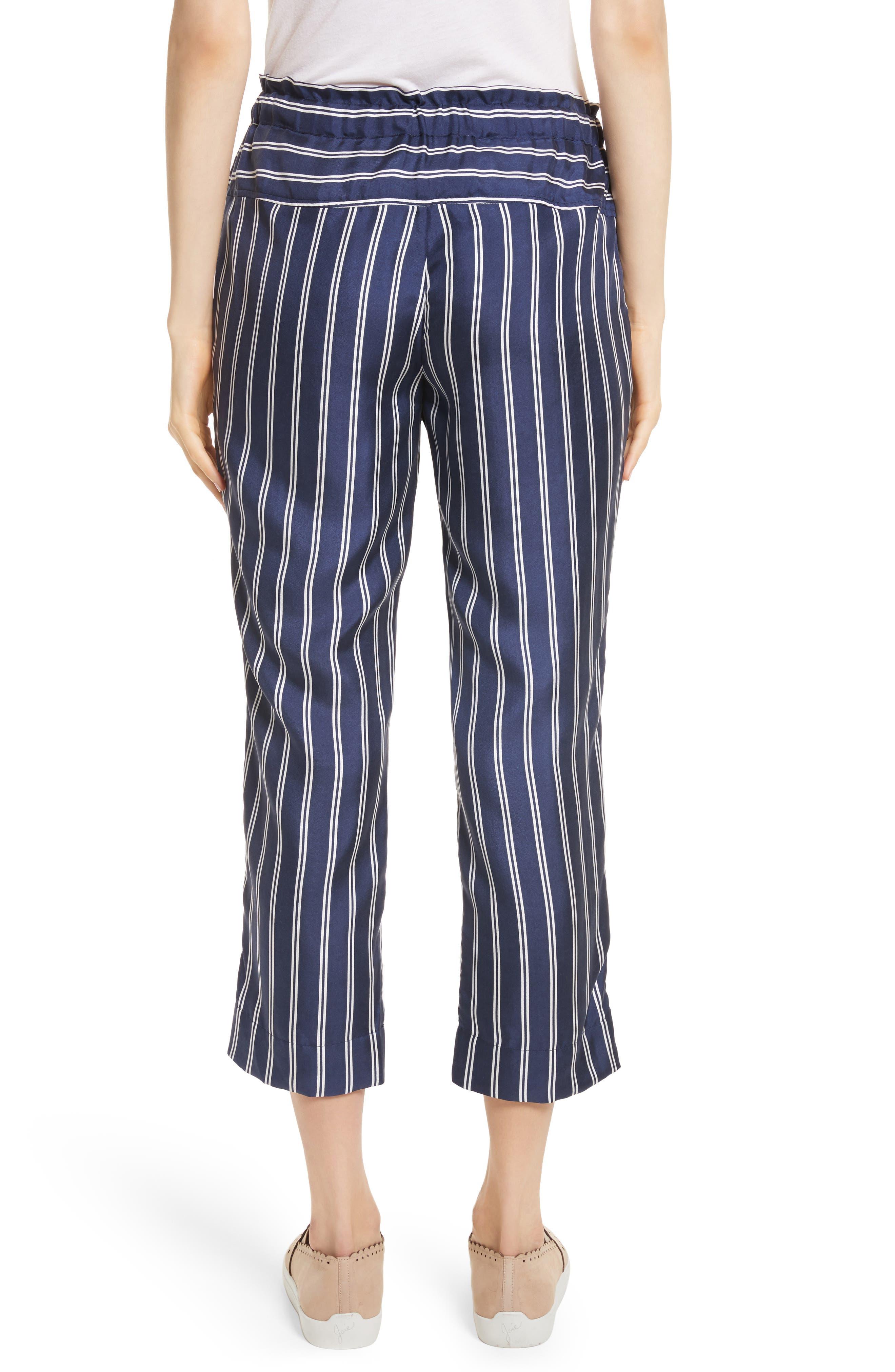 Addiena Stripe Silk Pants,                             Alternate thumbnail 2, color,                             Dark Navy