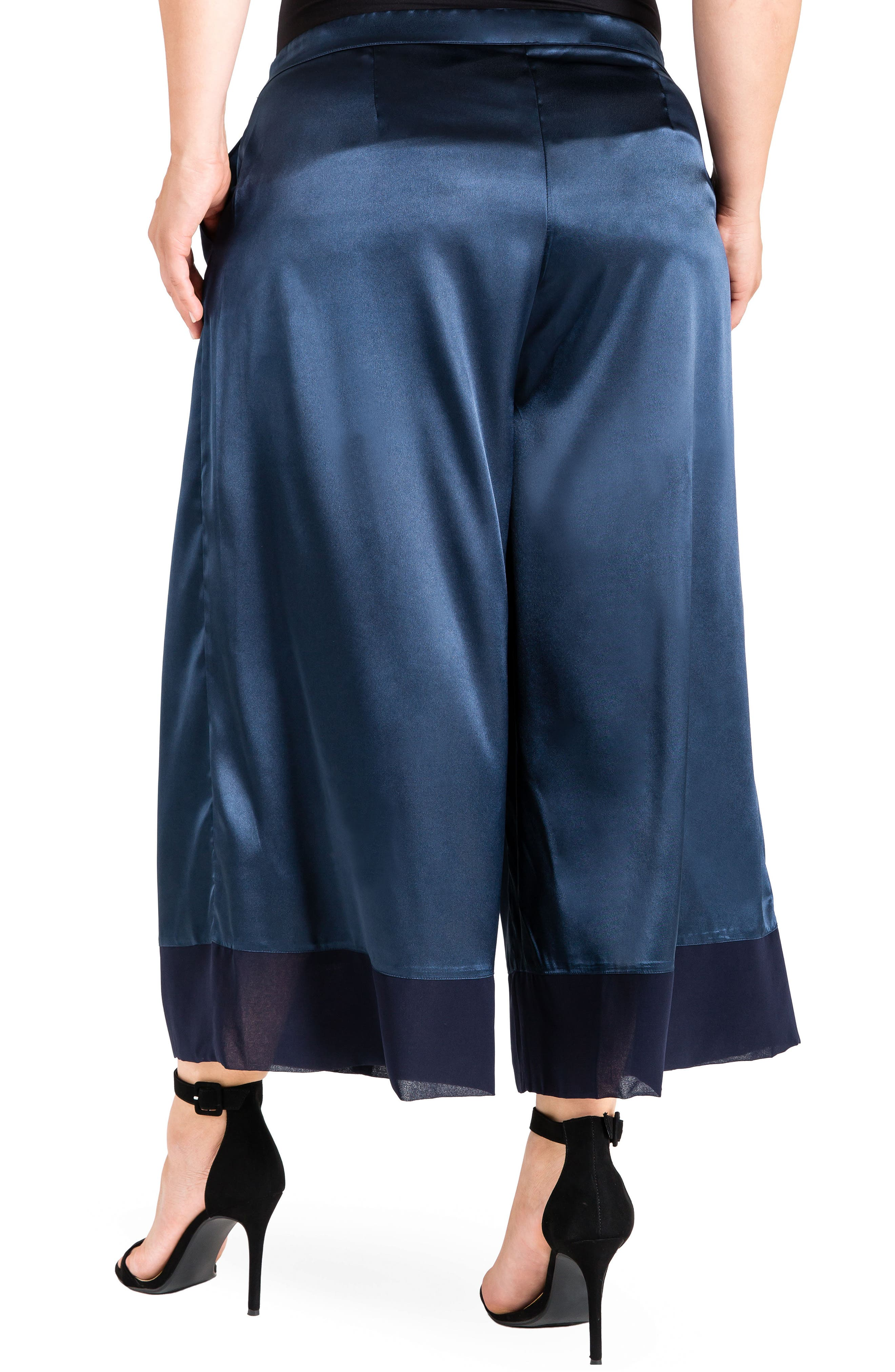 Morgan Crop Sateen Pants,                             Alternate thumbnail 2, color,                             Midnight Blue