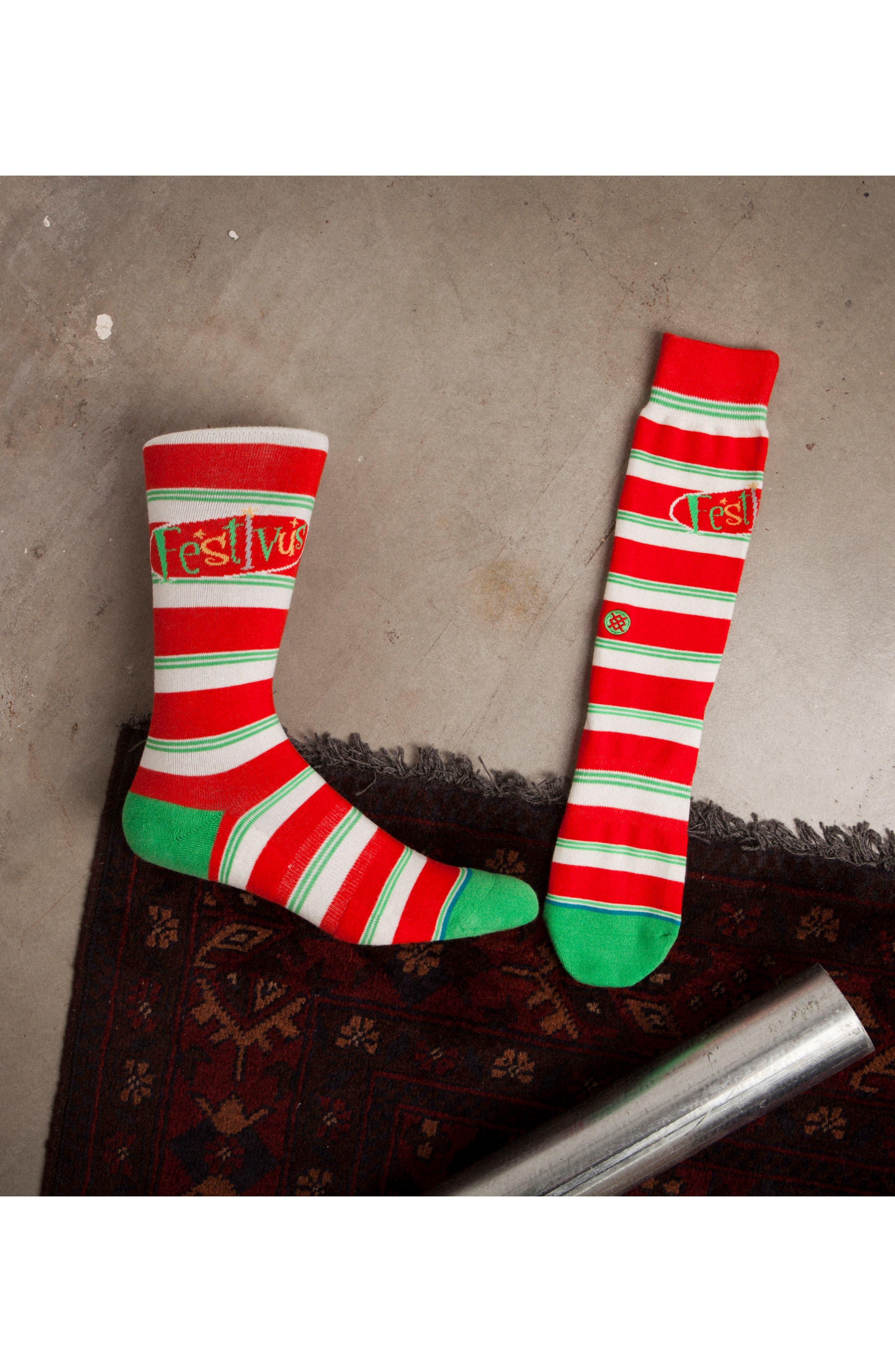 Seinfeld Festivus Socks,                             Alternate thumbnail 3, color,                             Red
