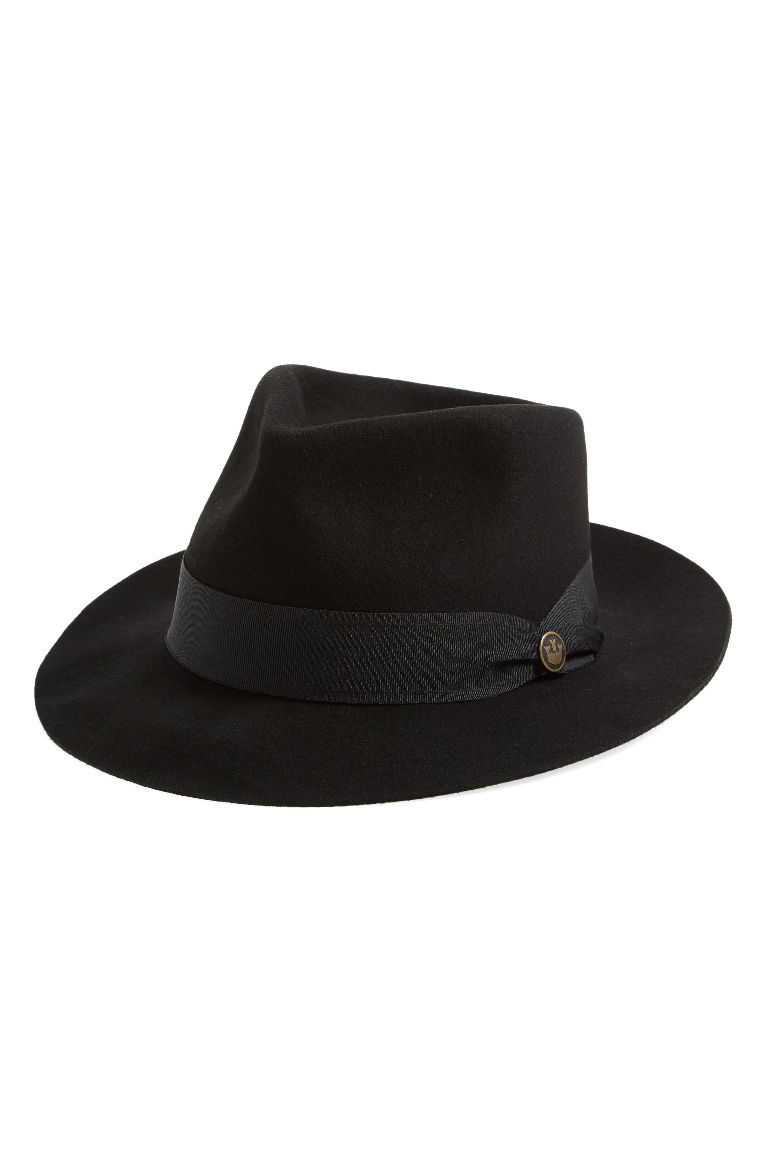 Mr. Walker Wool Fedora,                         Main,                         color, Black