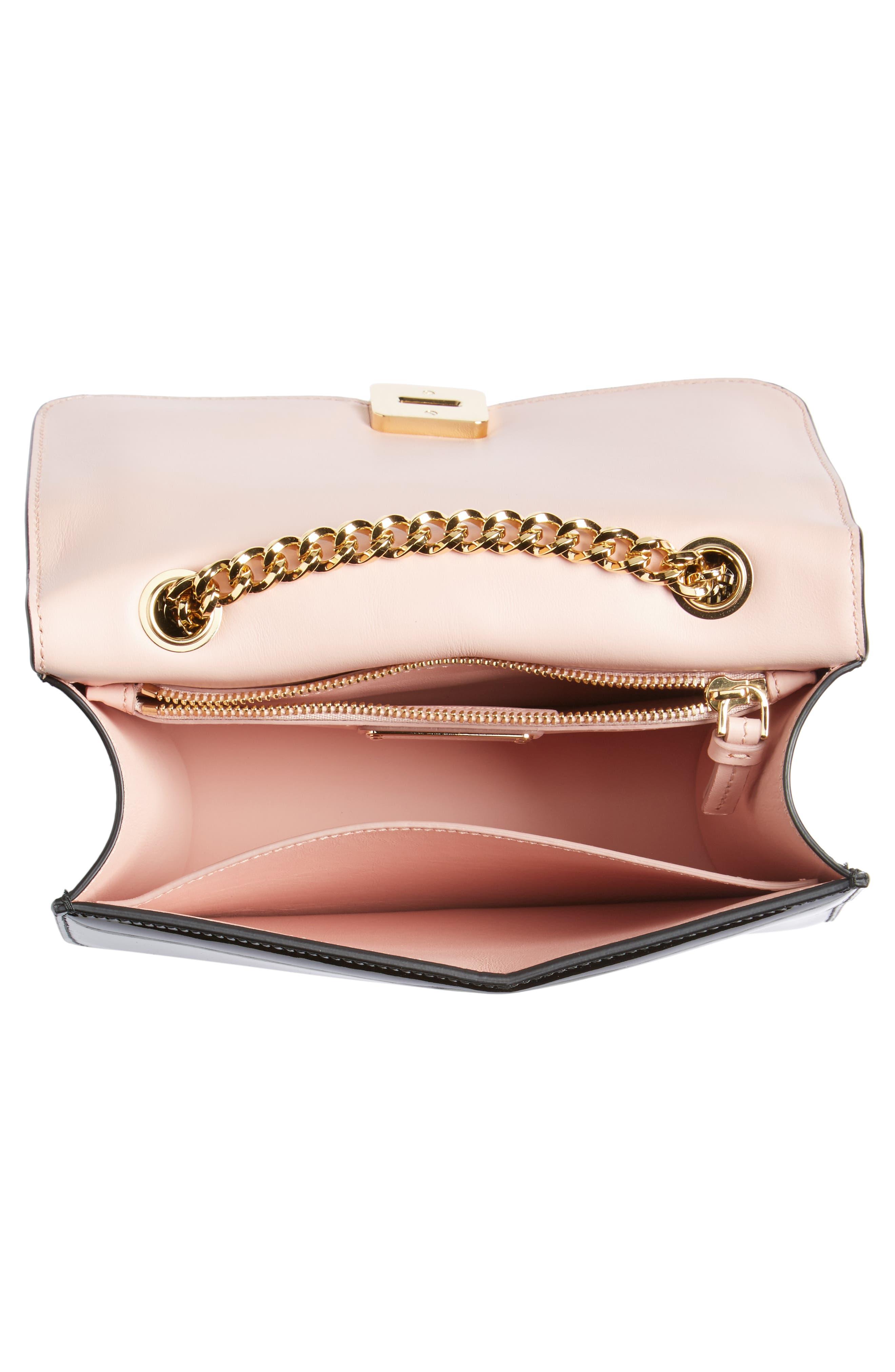 Vara Patent Leather Shoulder Bag,                             Alternate thumbnail 4, color,                             Nero/ Bonbon