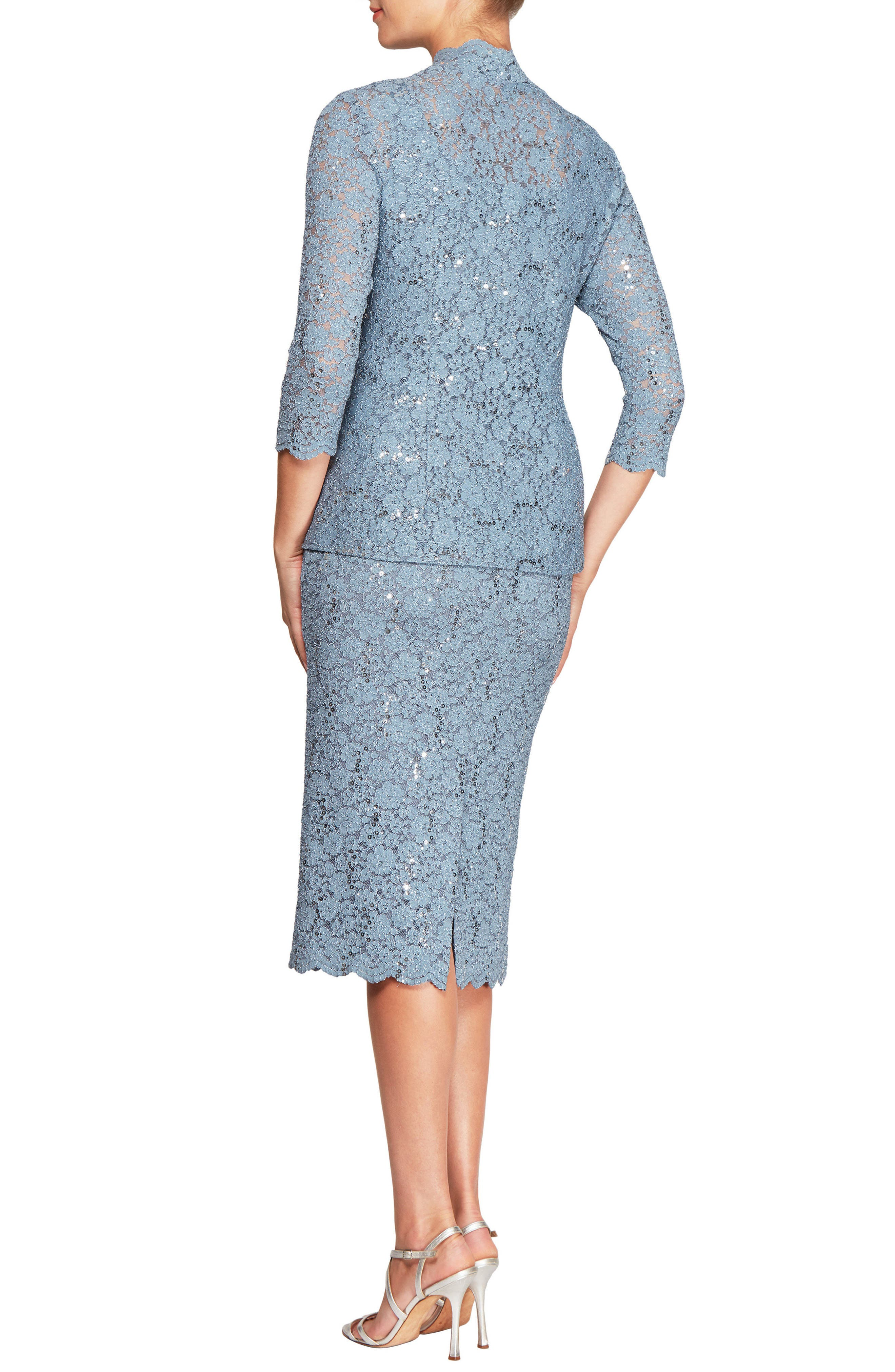 Sequined Lace Sheath Dress with Jacket,                             Alternate thumbnail 2, color,                             Steel Blue