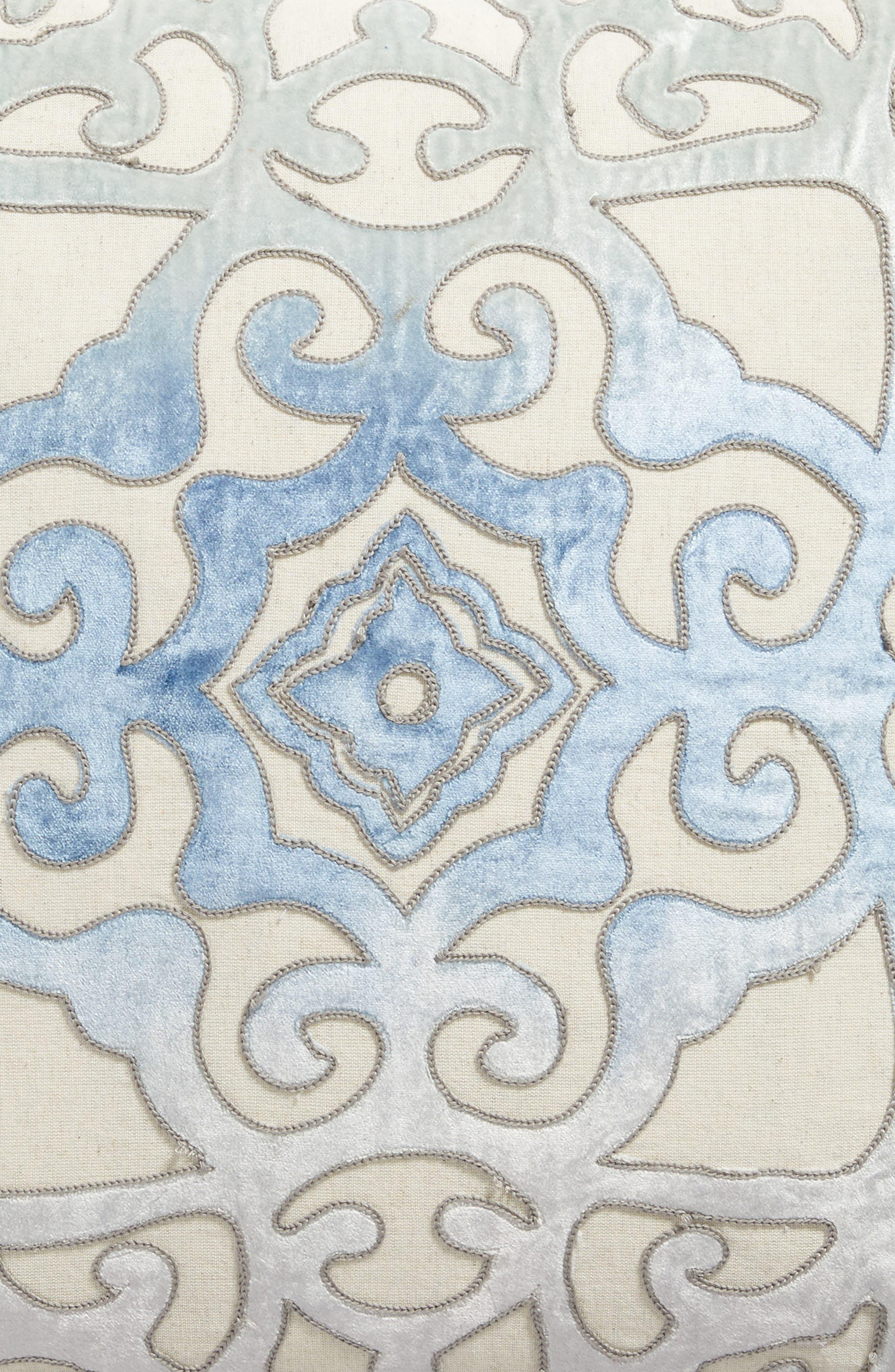 Velvet Cutout Accent Pillow,                             Alternate thumbnail 3, color,                             Blue Stellar Multi