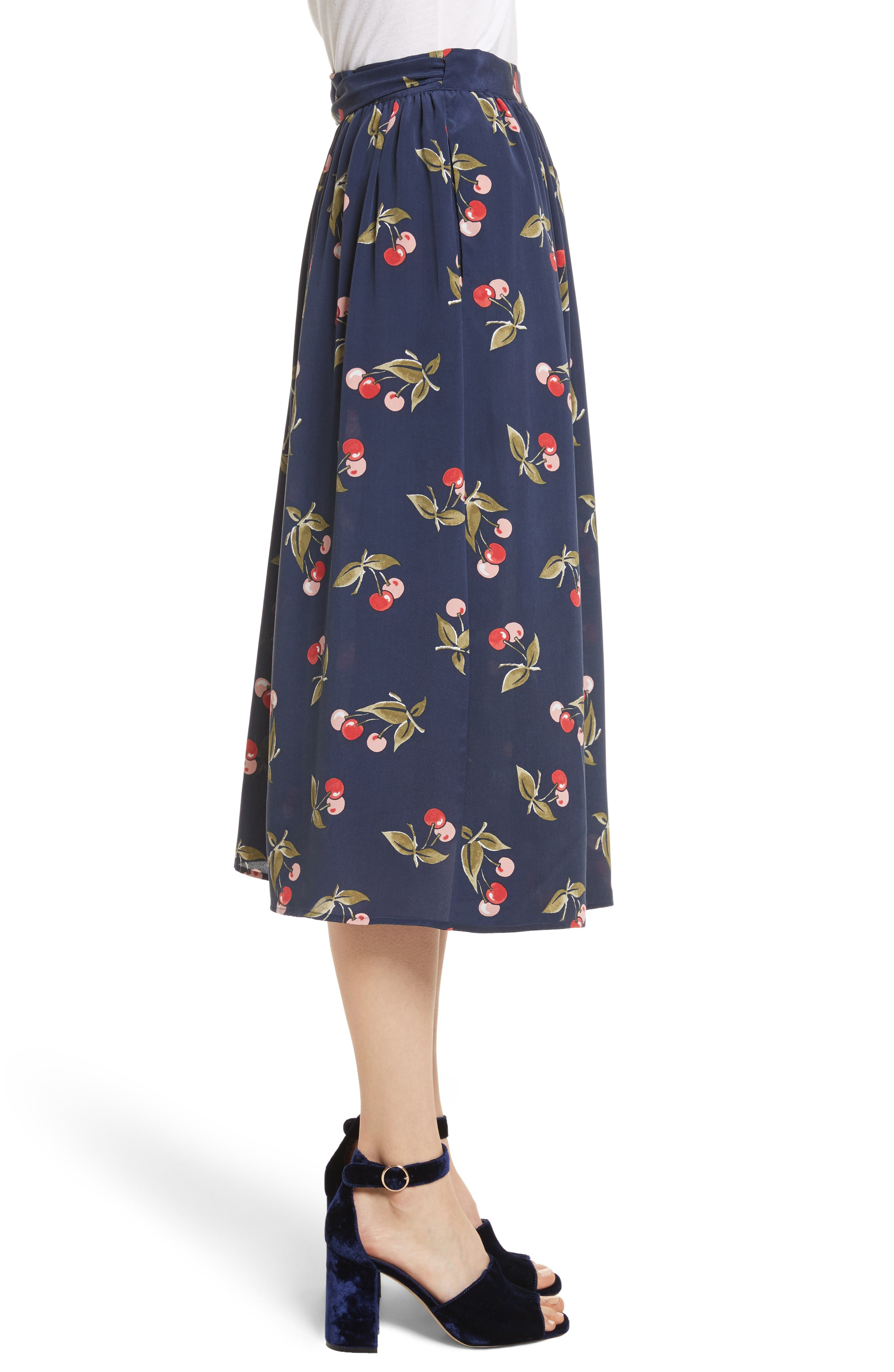 Almudena Cherry Print Silk Wrap Skirt,                             Alternate thumbnail 3, color,                             Dark Navy