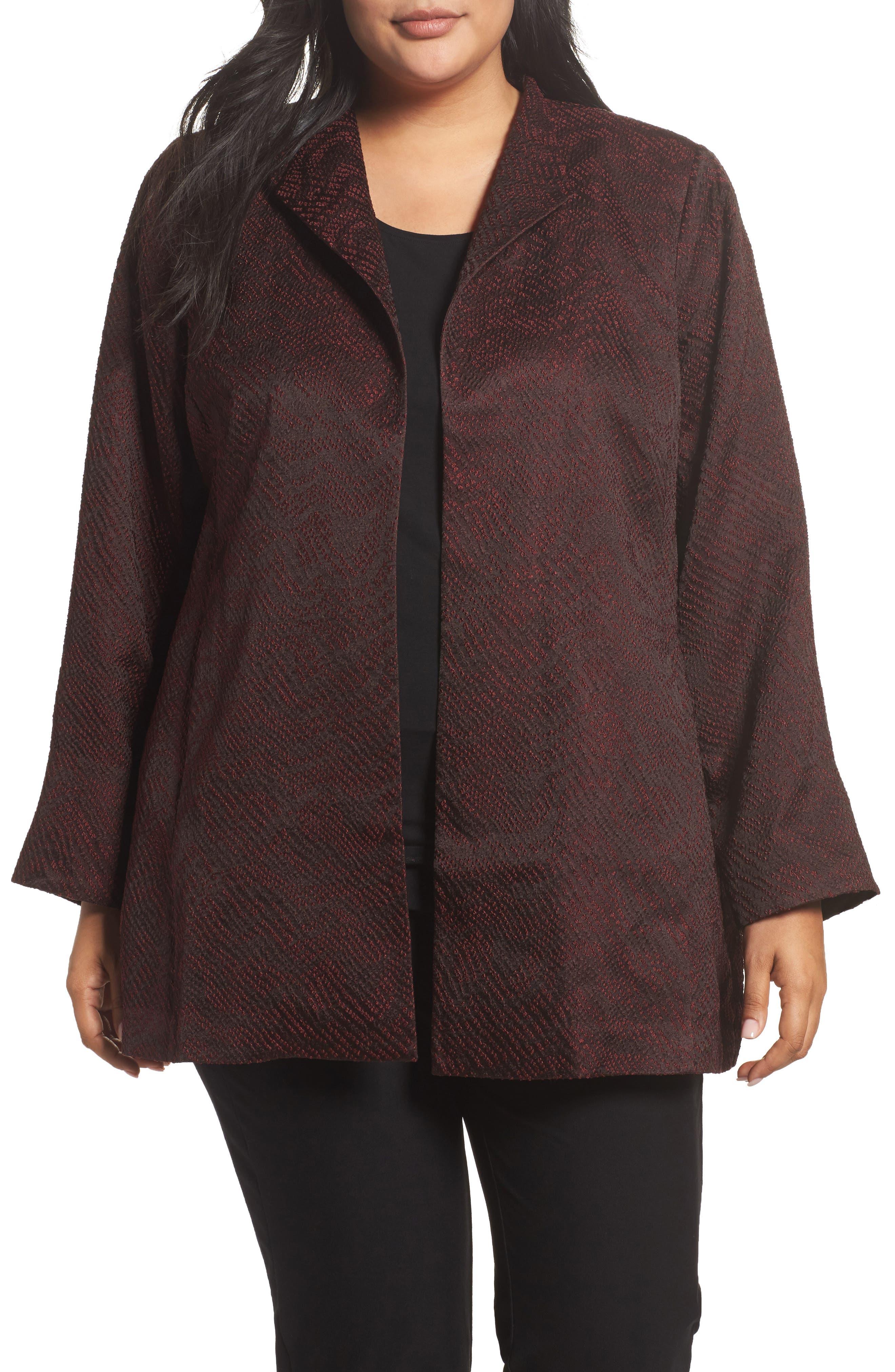 Alternate Image 1 Selected - Eileen Fisher Silk Blend Jacquard Jacket (Plus Size)