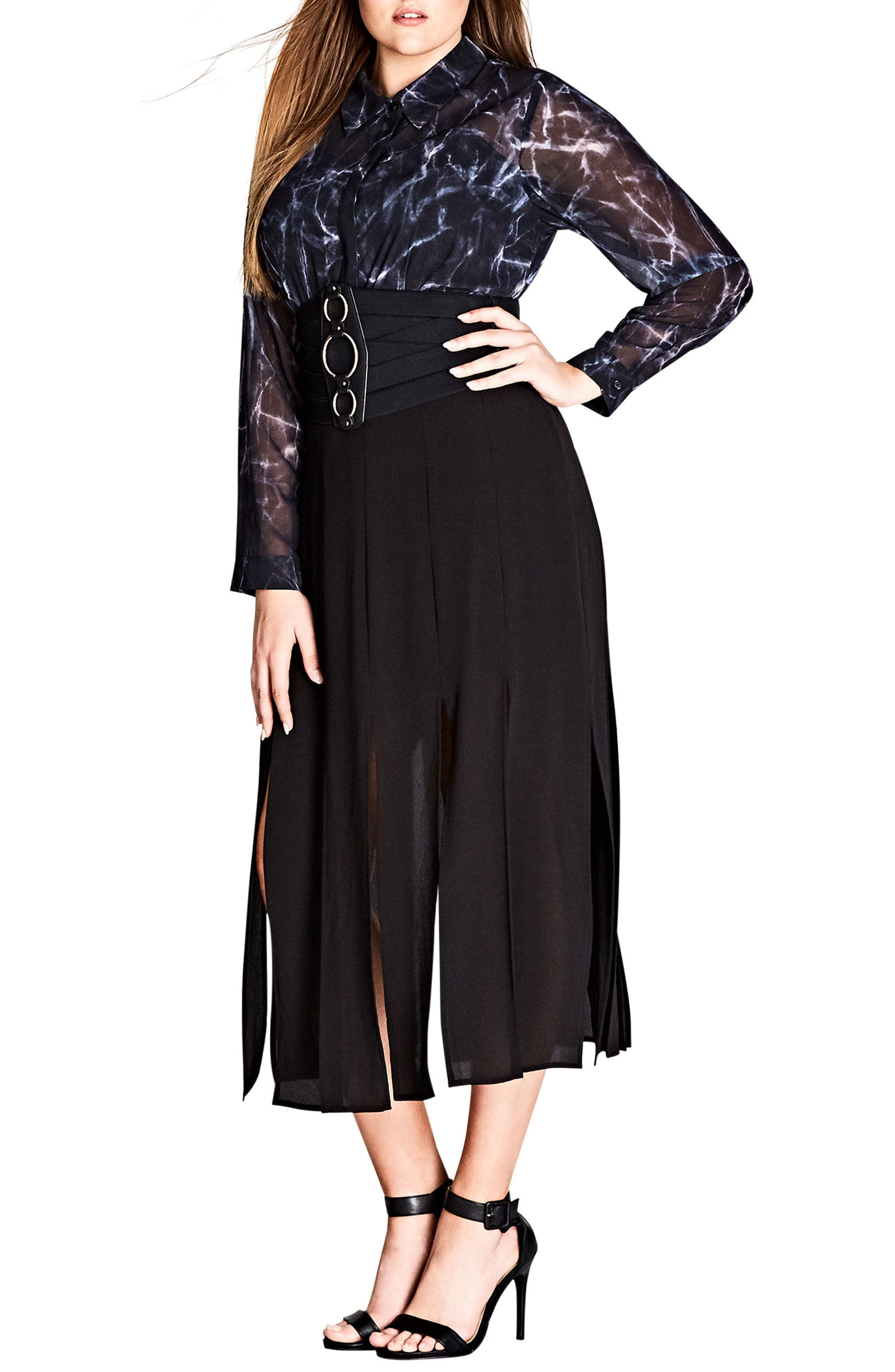 Stuck on You Pleated Maxi Skirt,                             Alternate thumbnail 3, color,                             Black