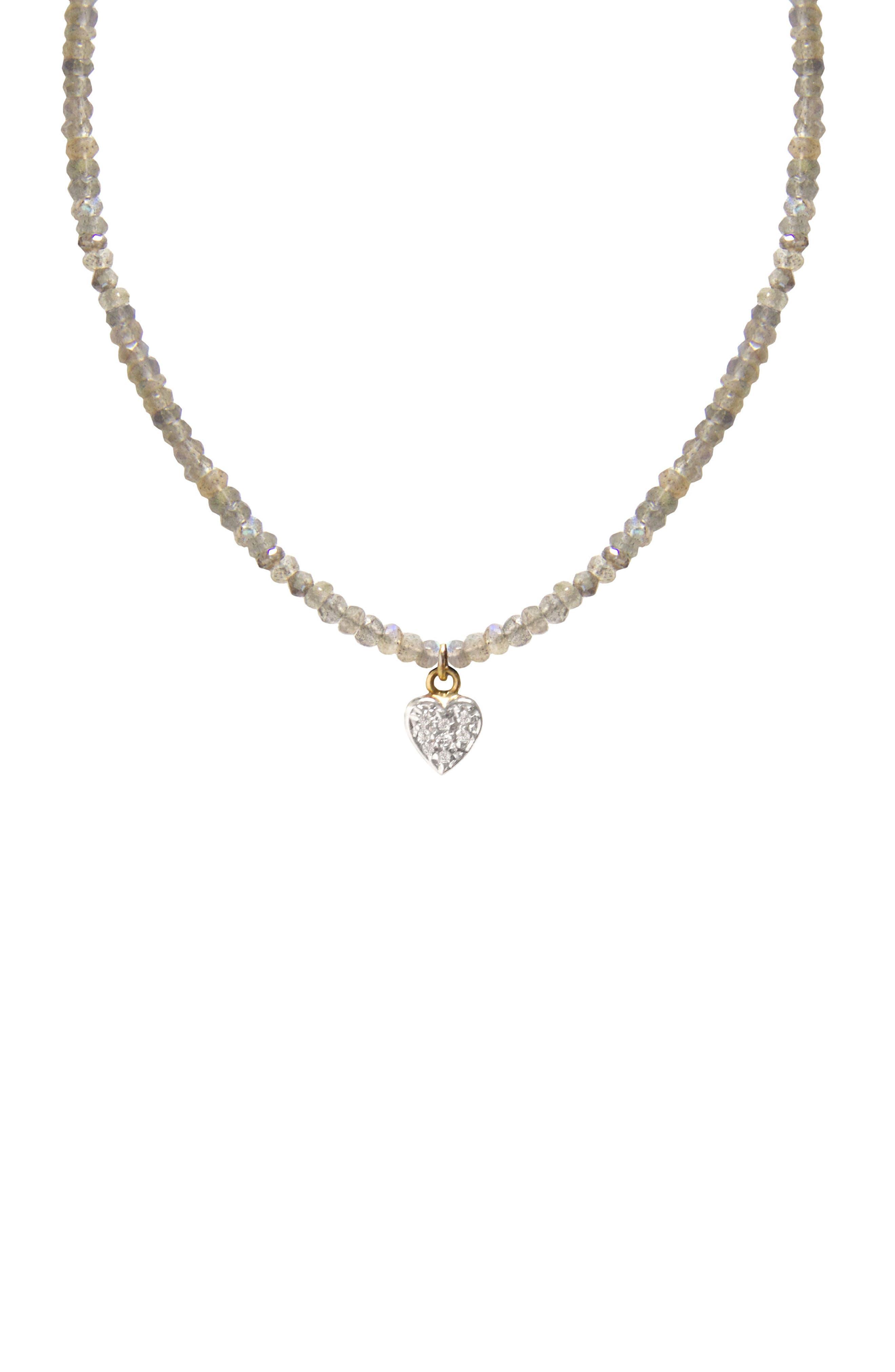 Jane Basch Diamond Heart Pendant Necklace,                         Main,                         color, Labradorite