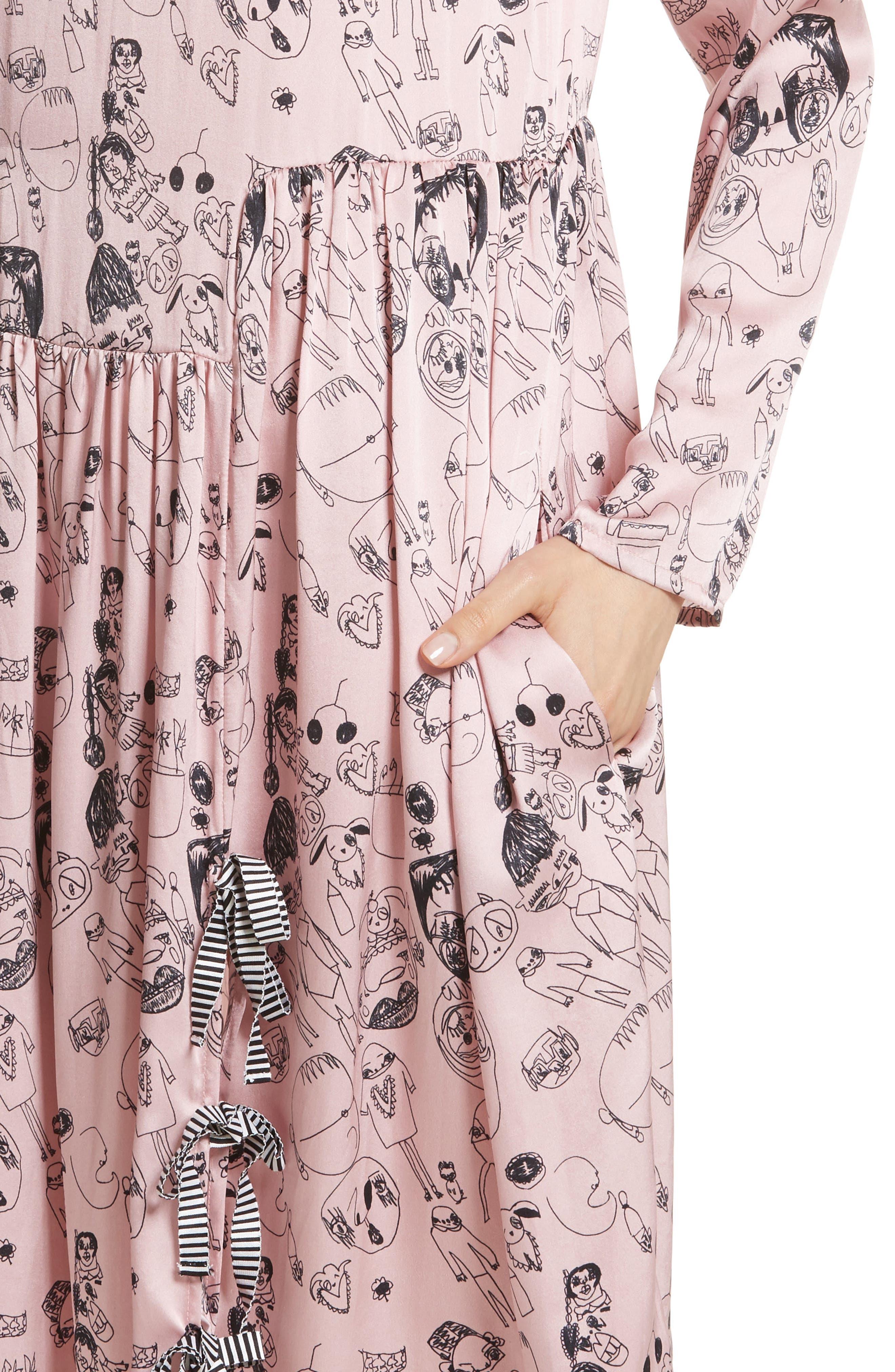 Heather Print Silk Dress,                             Alternate thumbnail 4, color,                             Rosette / Black