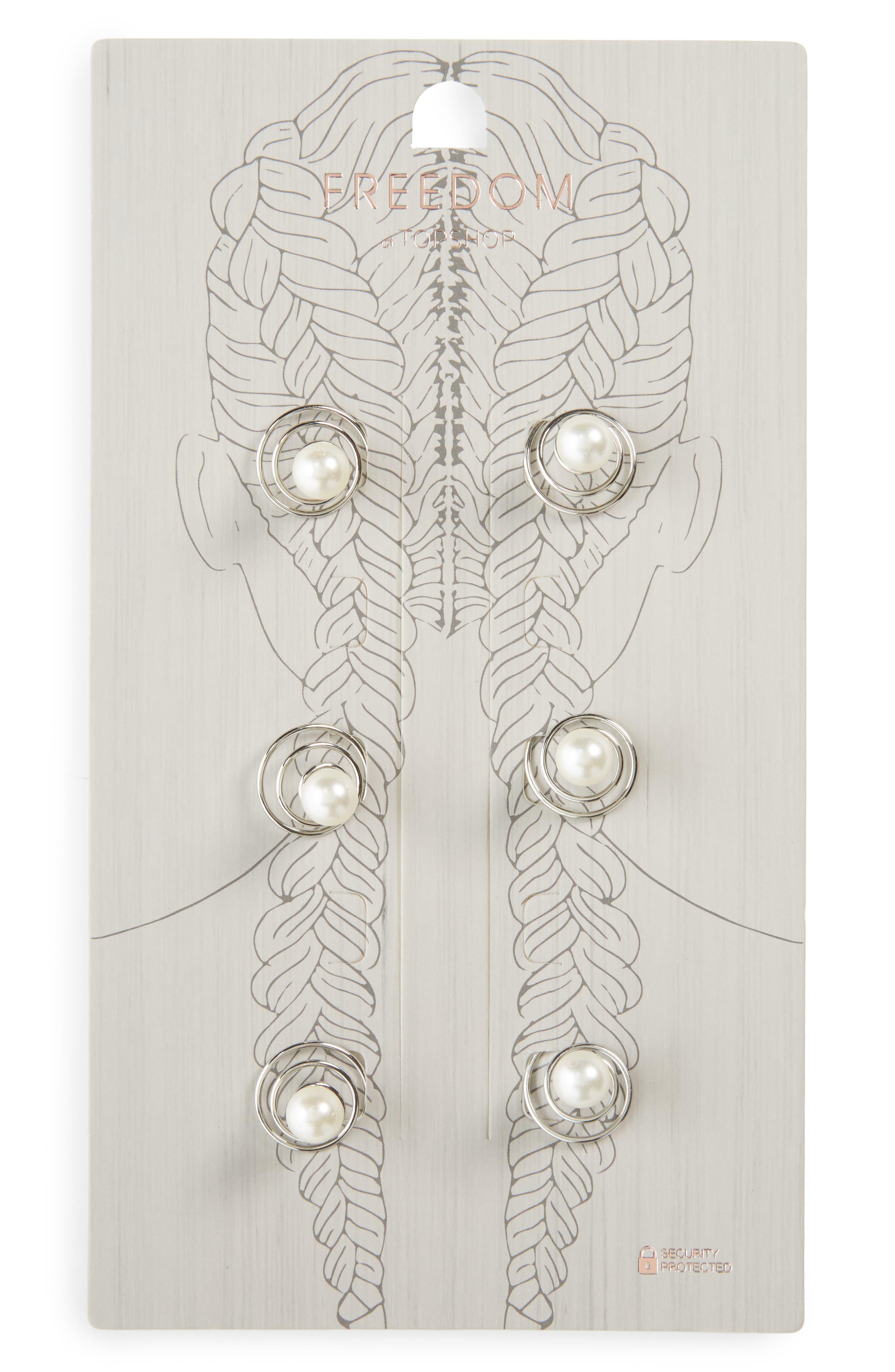 Set of 6 Imitation Pearl Swirl Rings,                             Main thumbnail 1, color,                             Ivory