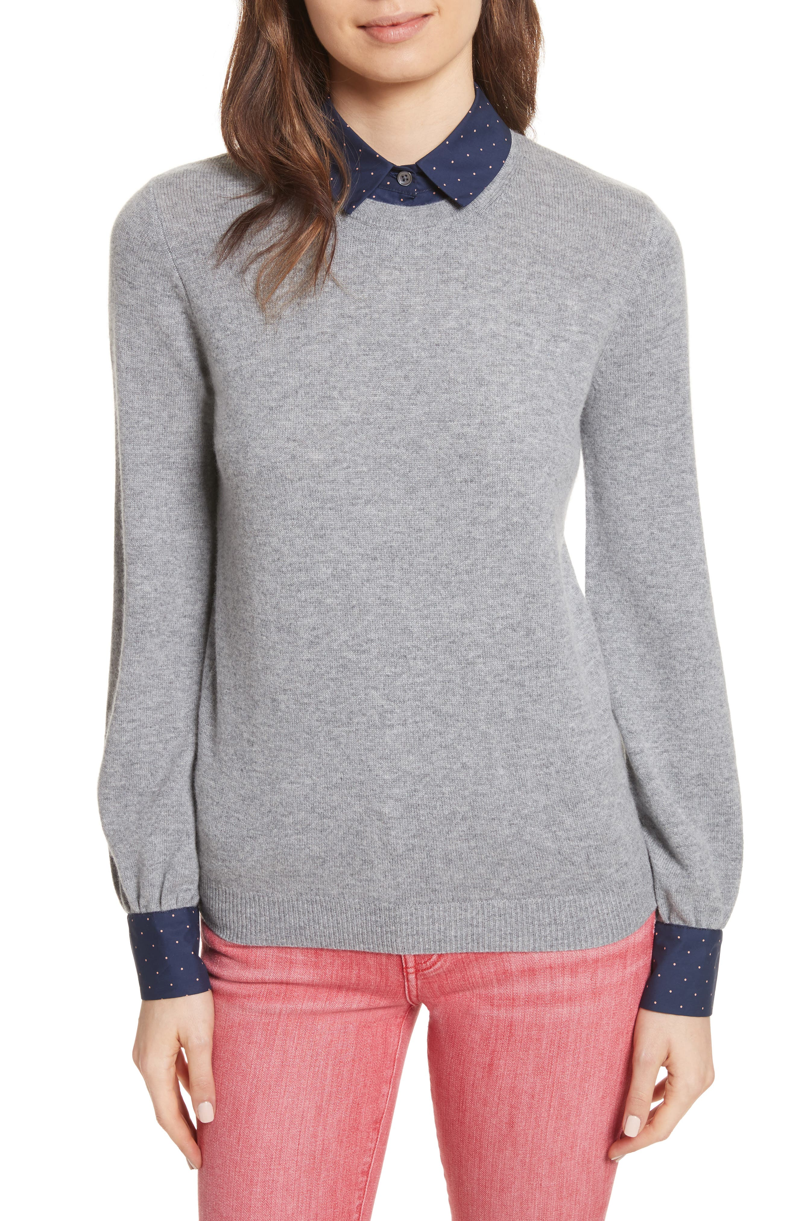 Bahiti Woven Trim Wool & Cashmere Sweater,                             Main thumbnail 1, color,                             Heather Grey/ Dark Navy