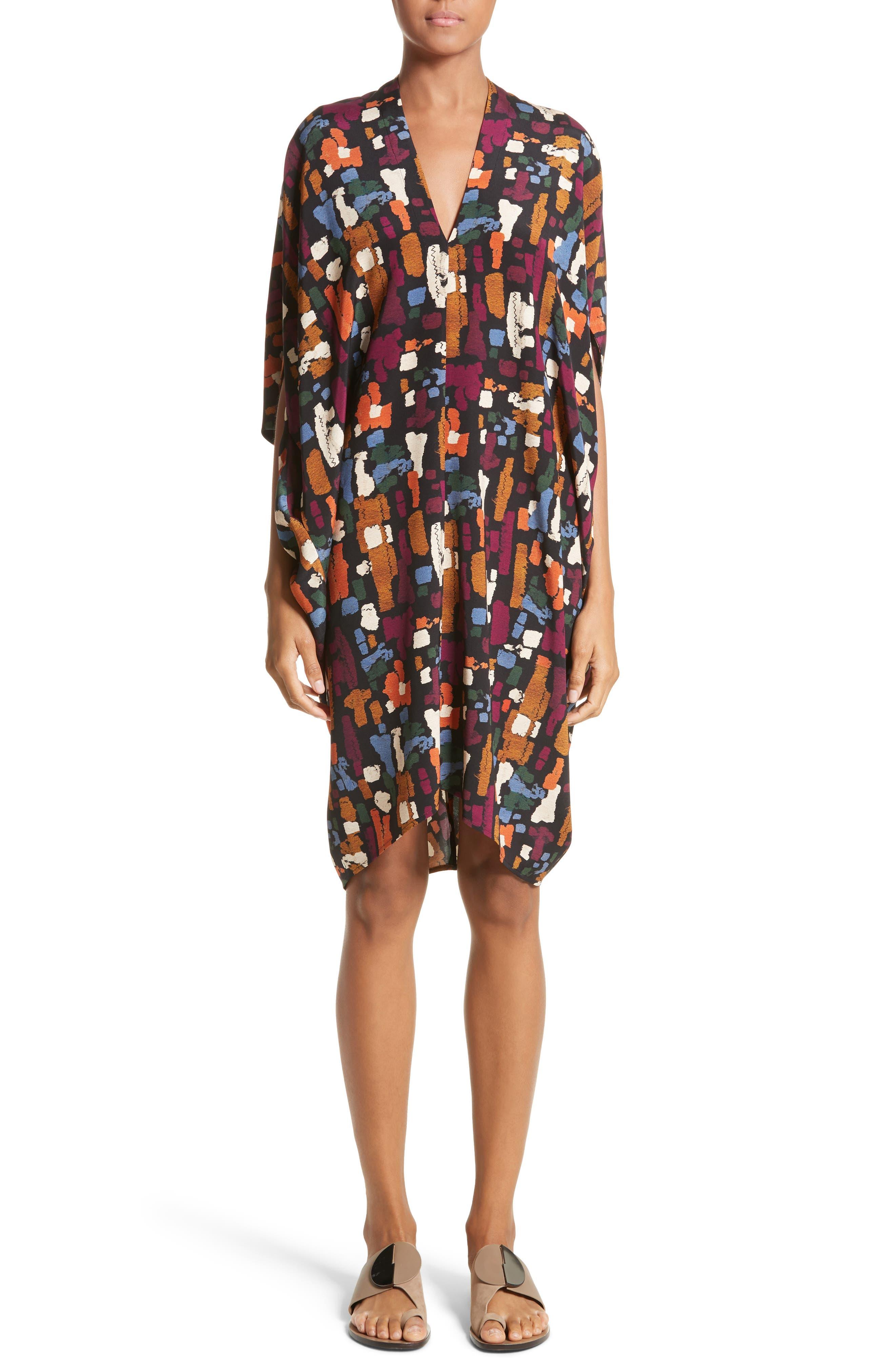 Print Stretch Silk Drape Dress,                         Main,                         color, Pallet Black