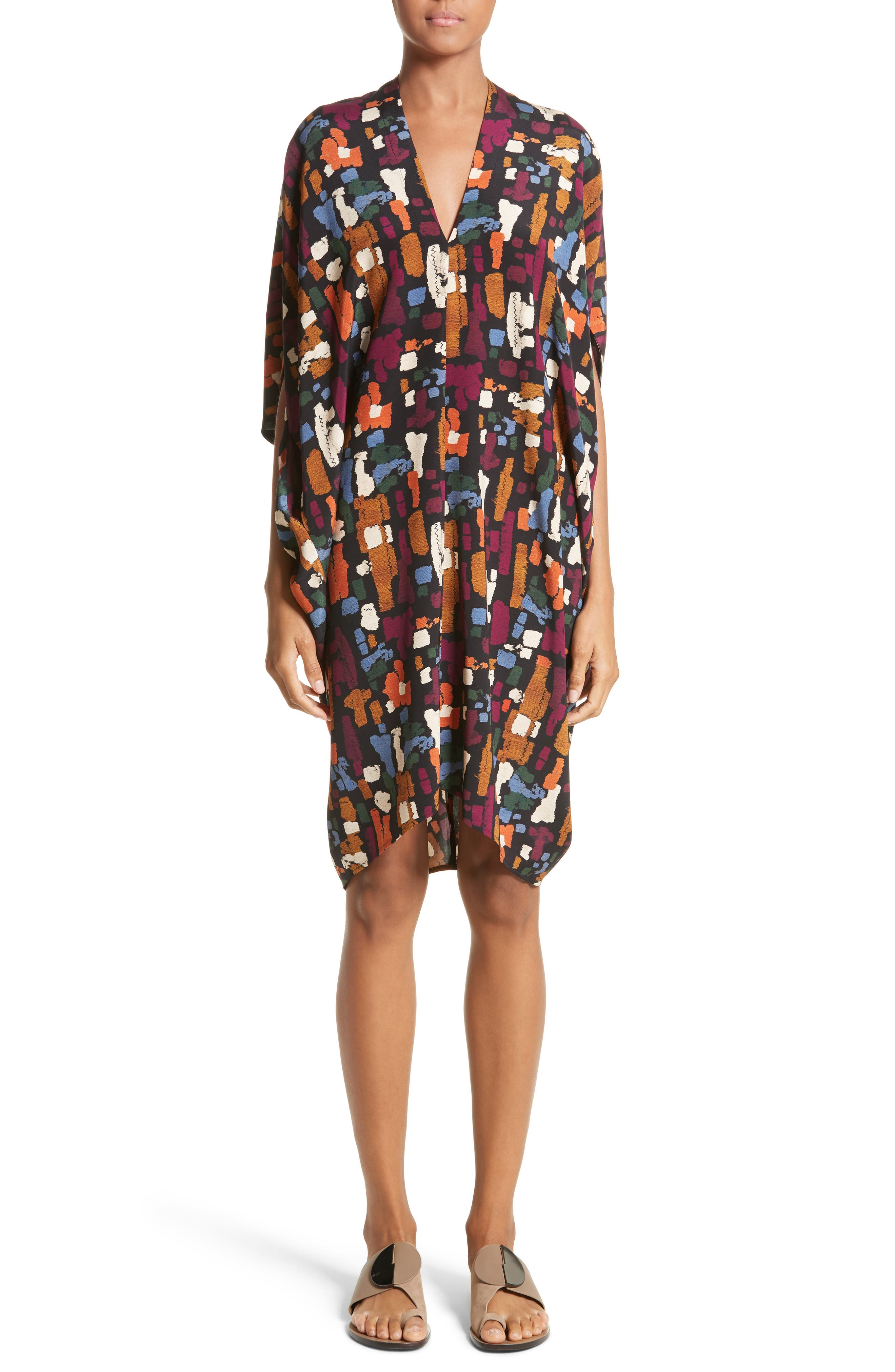 Zero + Maria Cornejo Print Stretch Silk Drape Dress