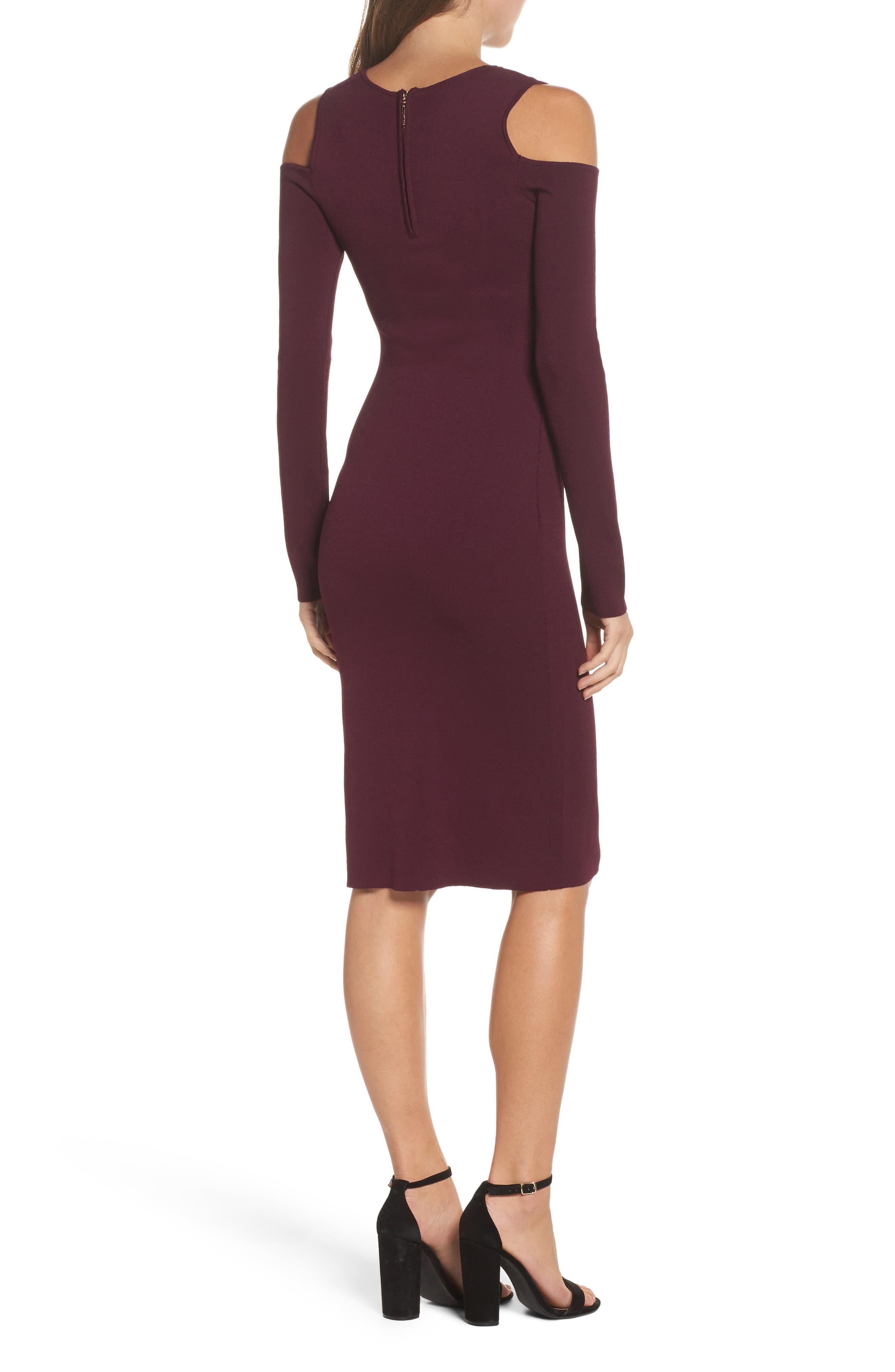 Cold Shoulder Knit Body-Con Dress,                             Alternate thumbnail 2, color,                             Aubergine