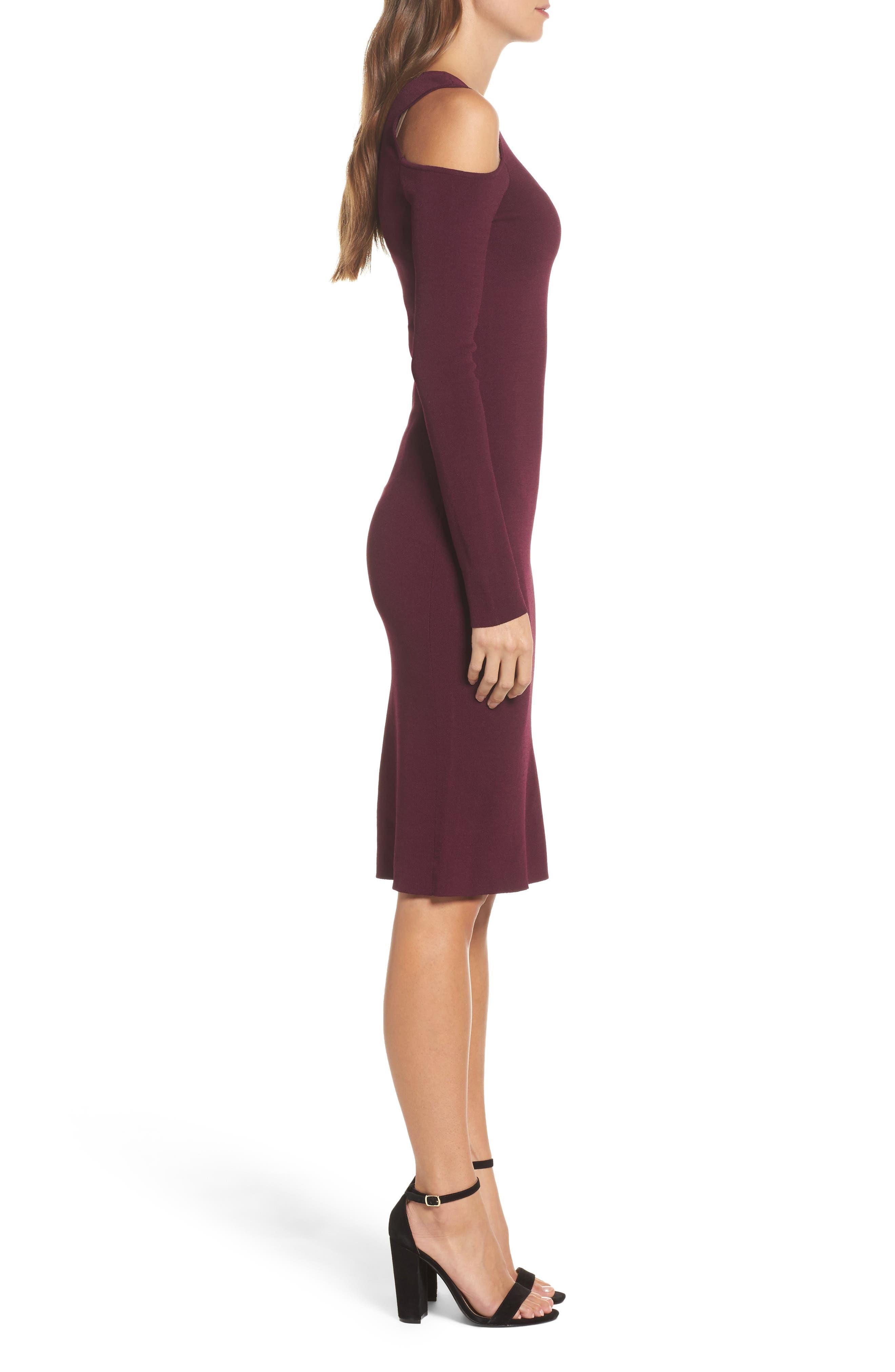 Cold Shoulder Knit Body-Con Dress,                             Alternate thumbnail 3, color,                             Aubergine