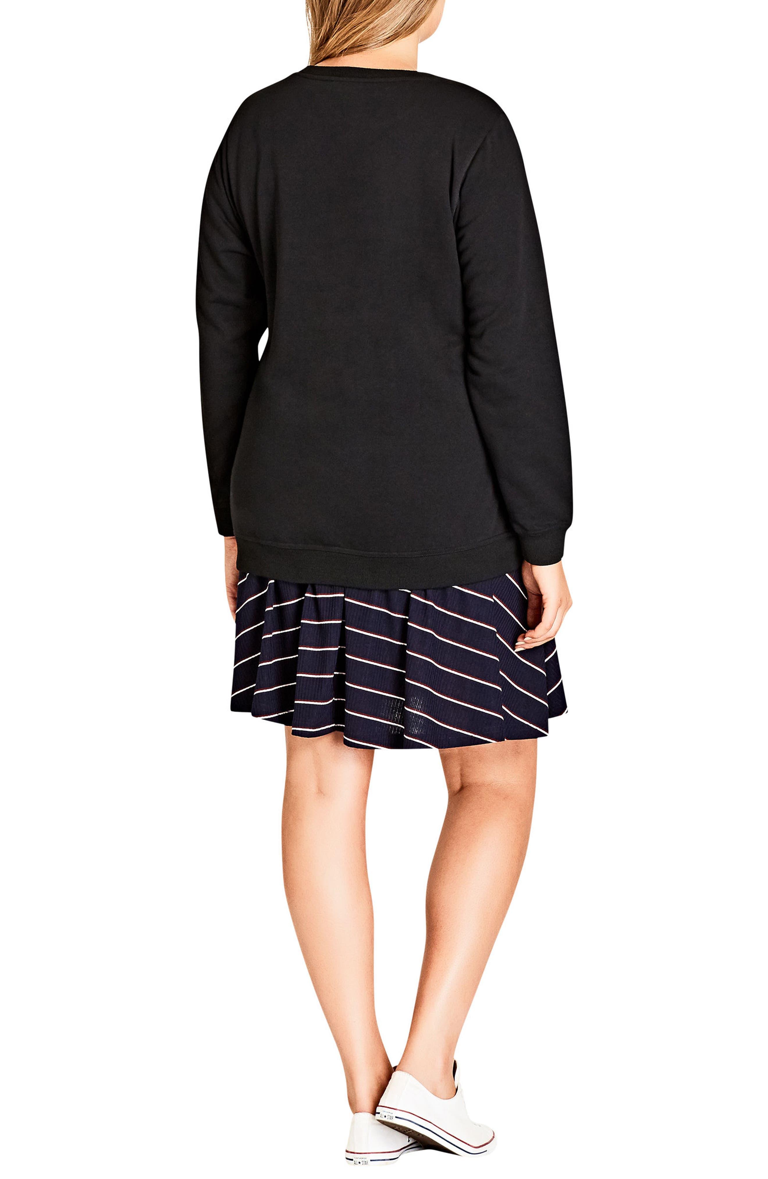 Alternate Image 2  - City Chic Top Slogan Sweatshirt (Plus Size)