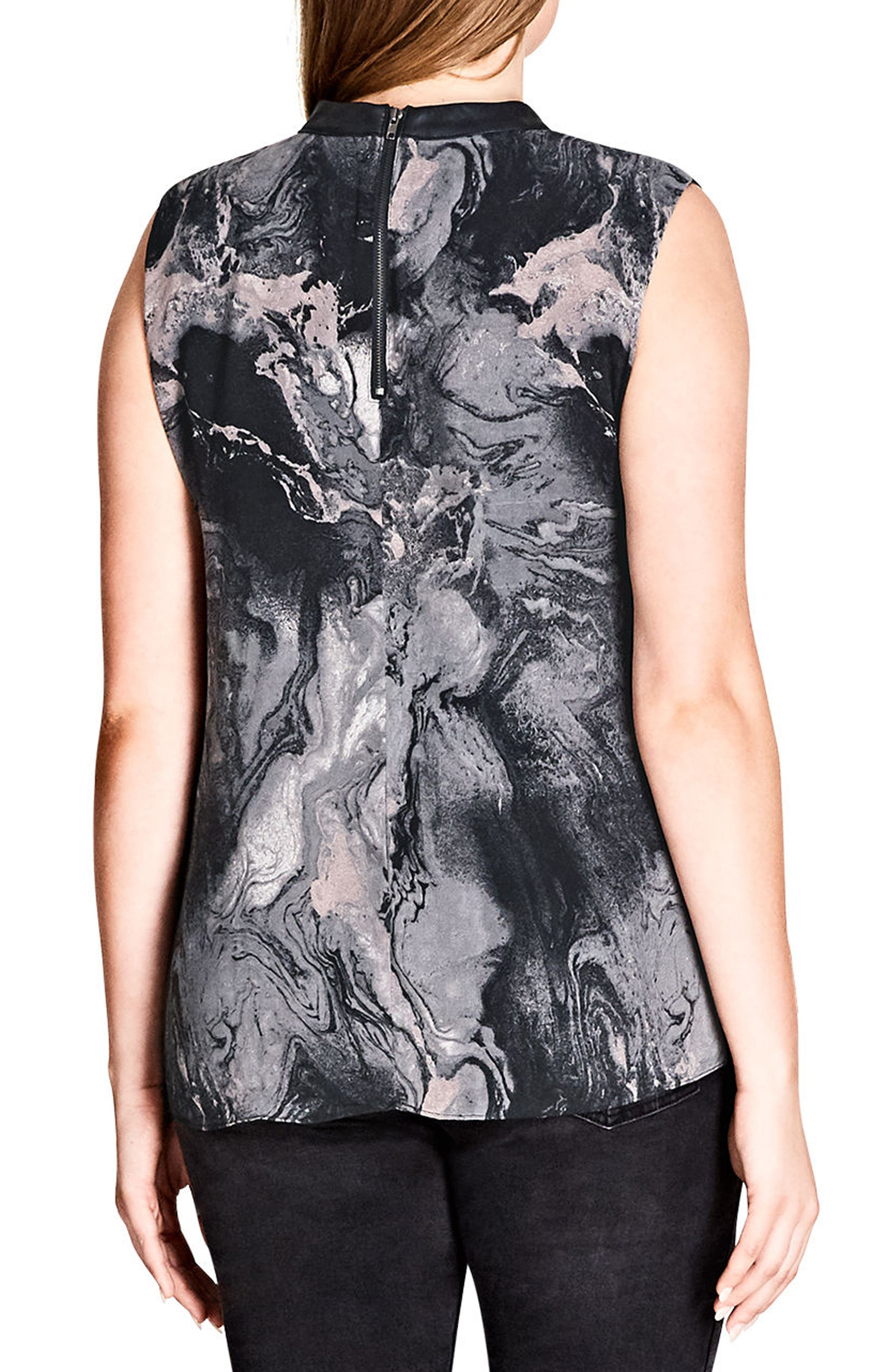 Alternate Image 2  - City Chic Marble Print Top (Plus Size)