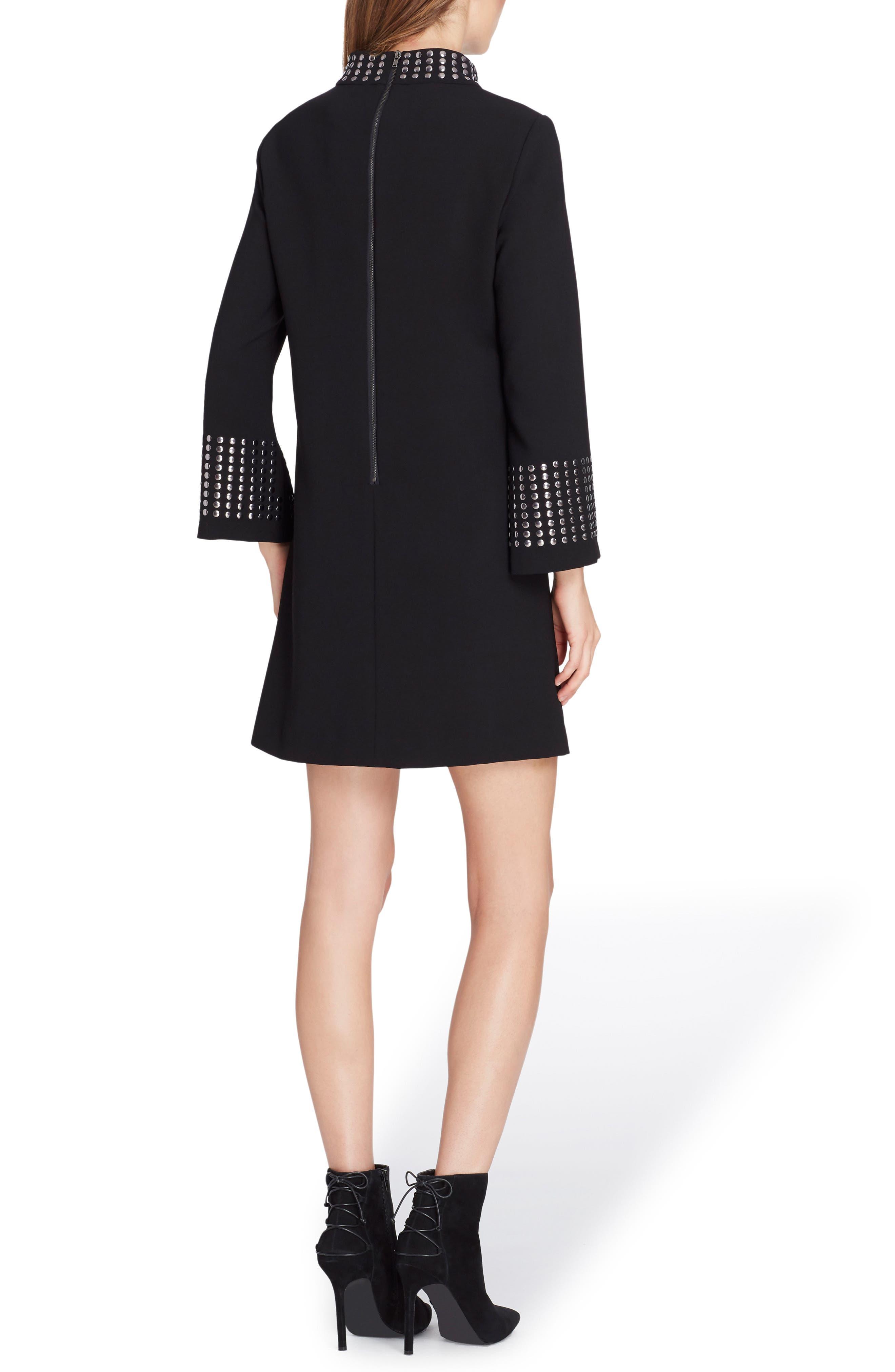 Embellished High Neck Shift Dress,                             Alternate thumbnail 2, color,                             Black