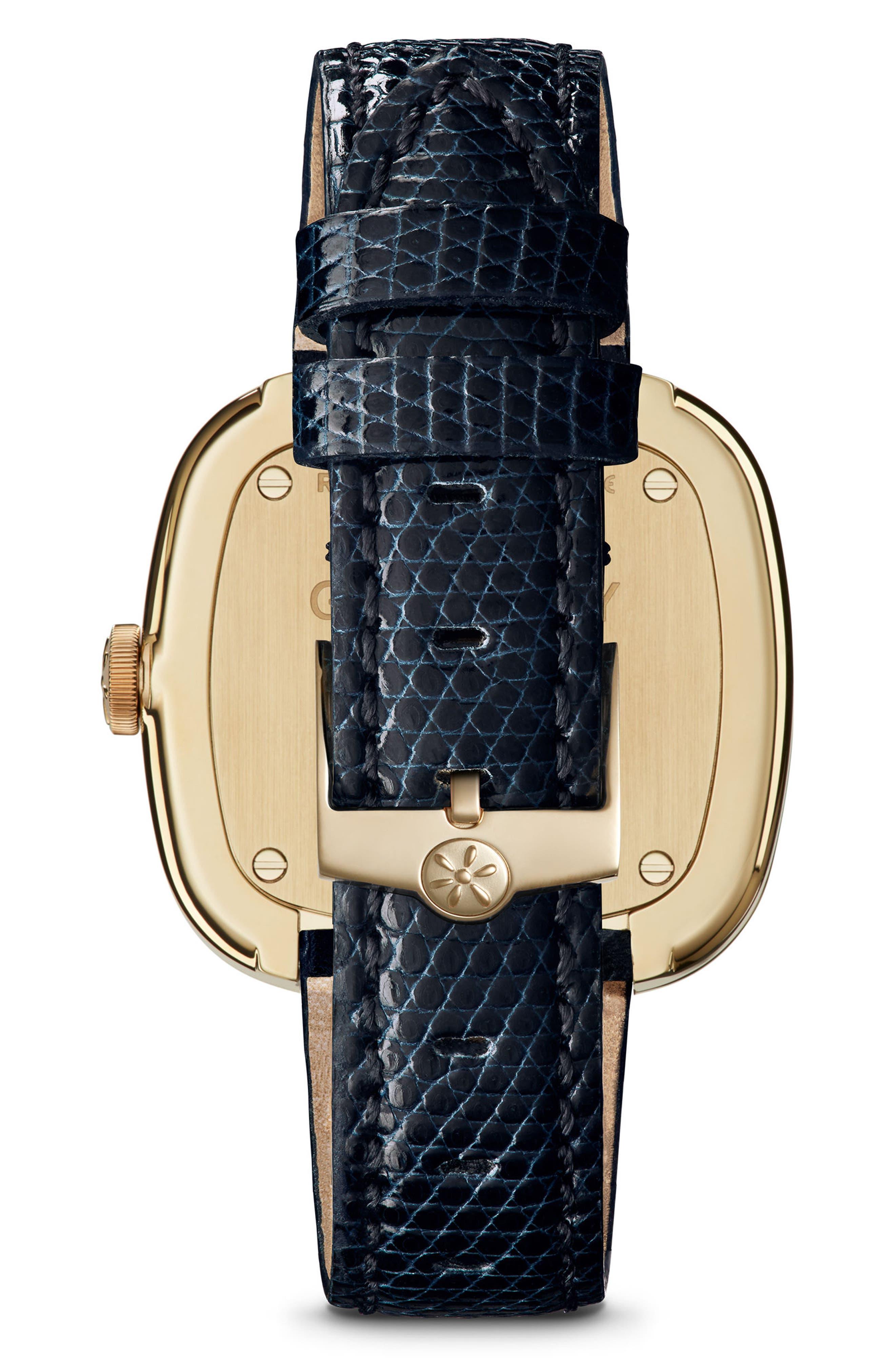 The Eppie Sneed Mini Lizardskin Strap Watch, 32mm,                             Alternate thumbnail 3, color,                             Navy/ Mop Malachite/ Gold