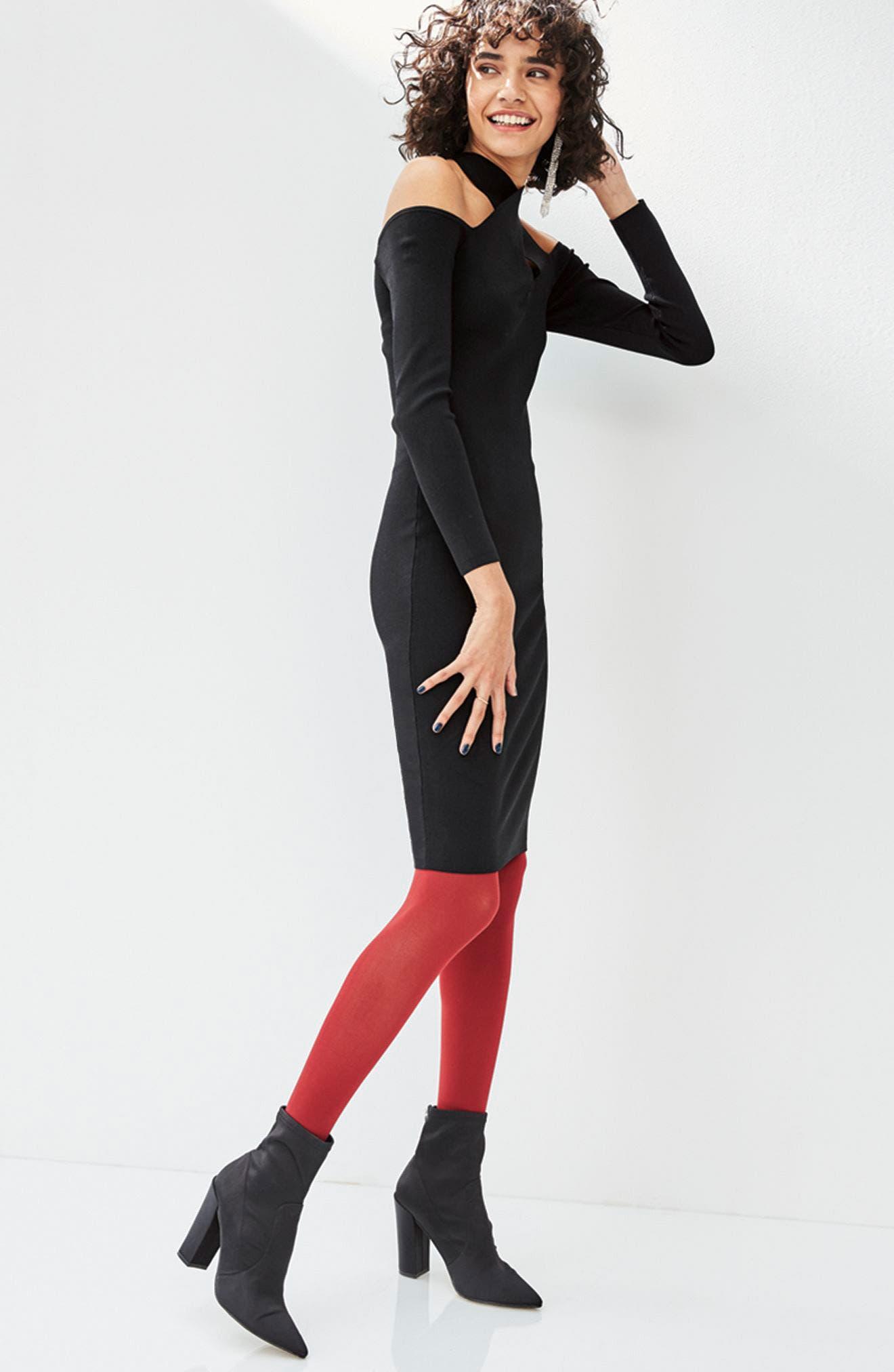 Halter Keyhole Sweater Dress,                             Alternate thumbnail 2, color,