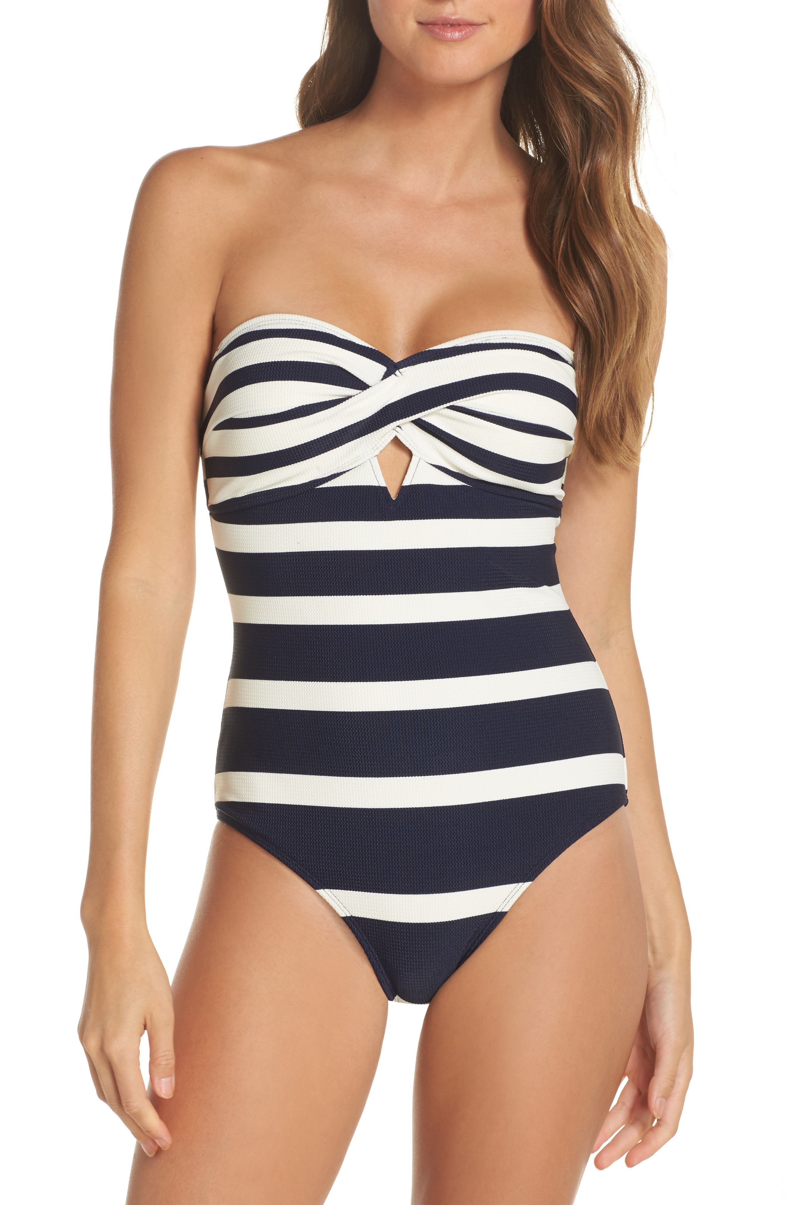 Texture Stripe One-Piece Bandeau Swimsuit,                         Main,                         color, Navy