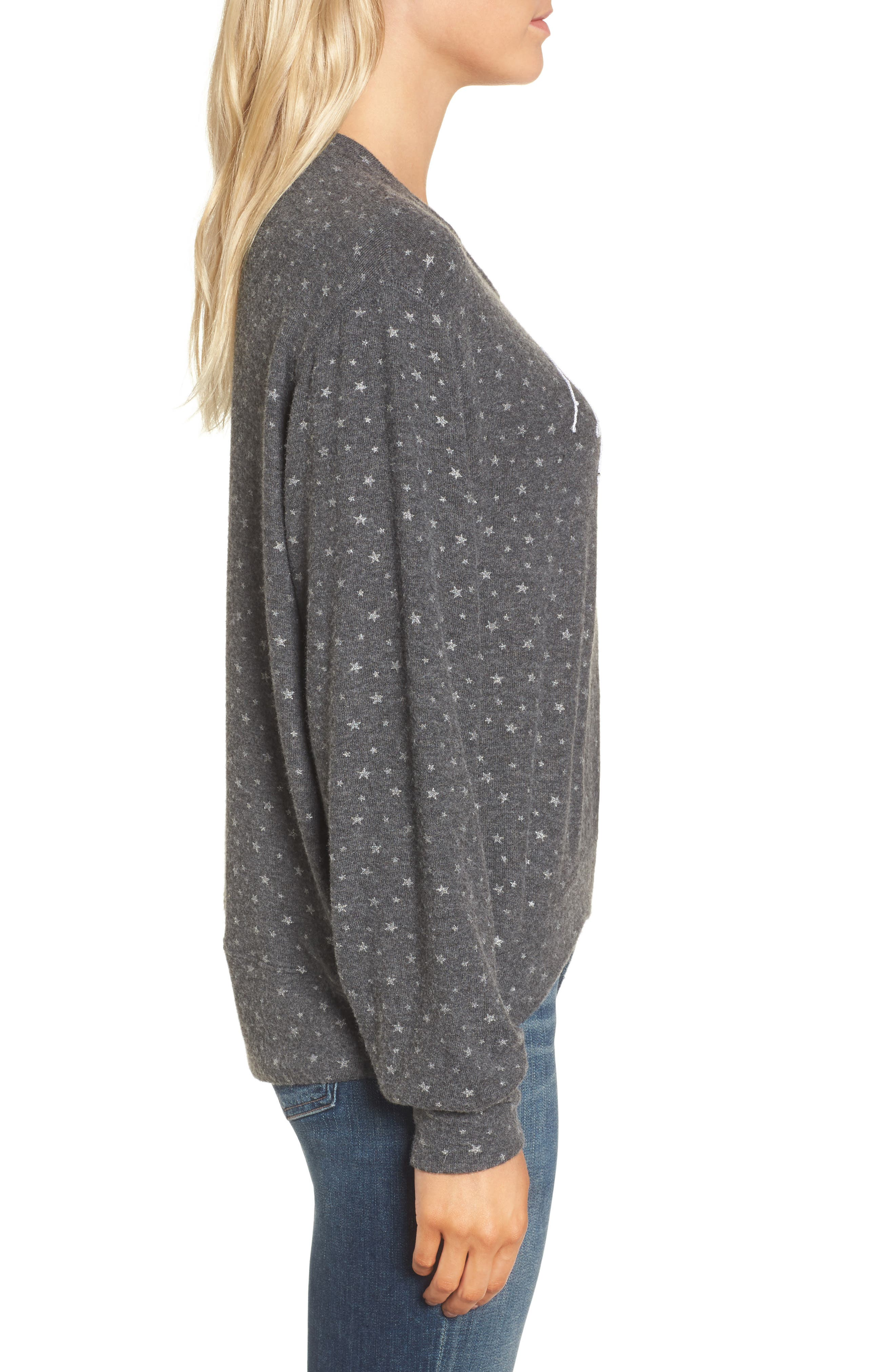 Sparkle Sweatshirt,                             Alternate thumbnail 3, color,                             Charcoal/ Silver