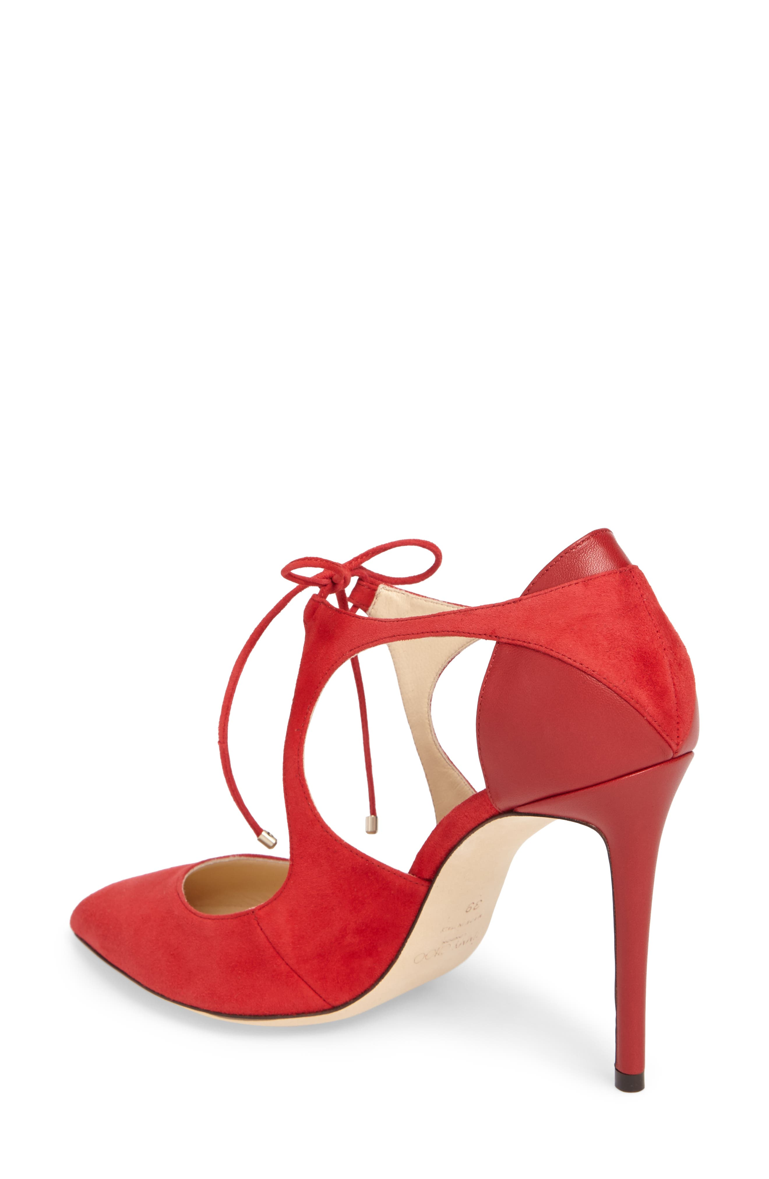 Vanessa Tie Front Pump,                             Alternate thumbnail 2, color,                             Red/ Red