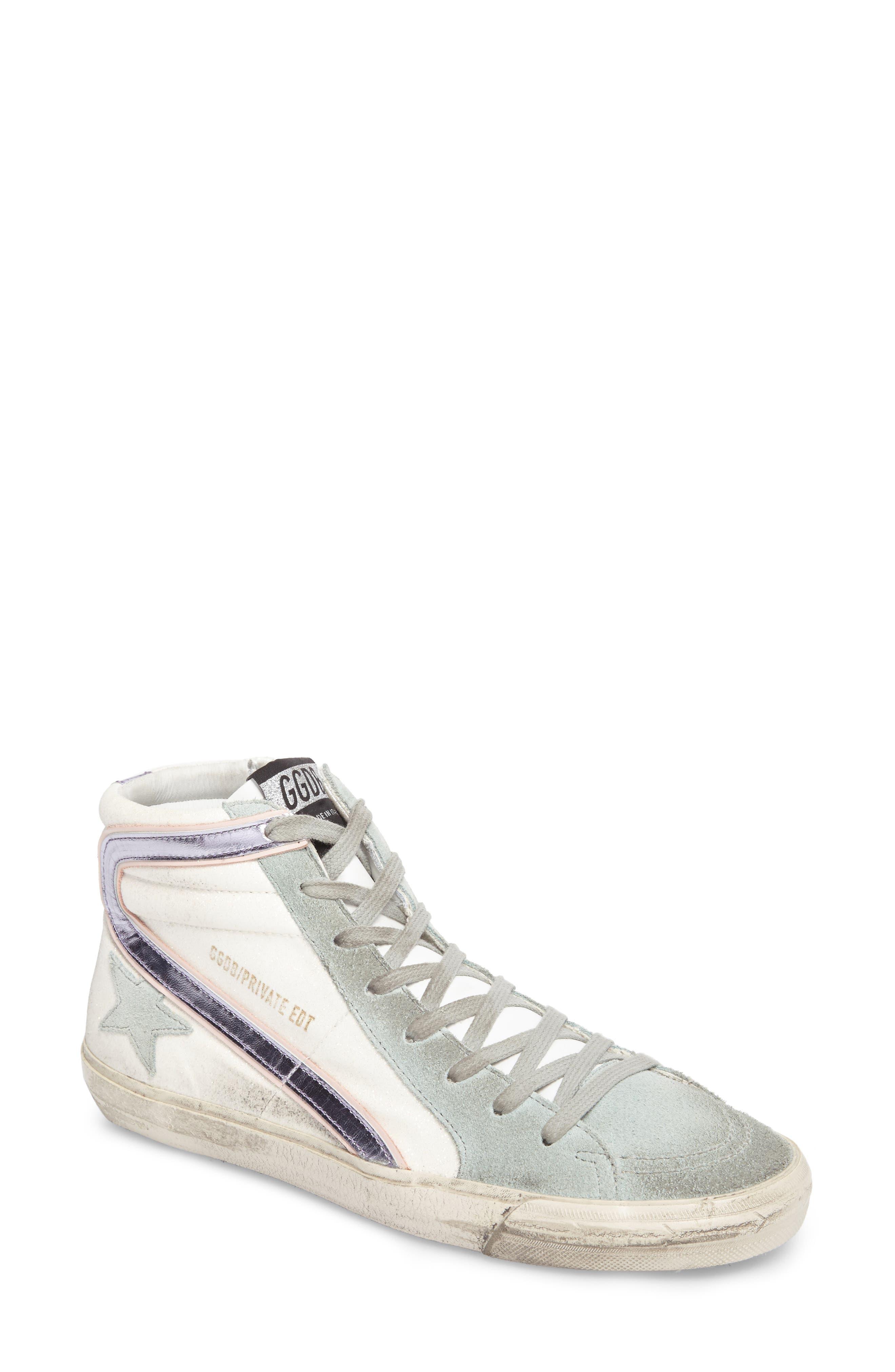 Slide High Top Sneaker,                         Main,                         color, White/ Mint Green