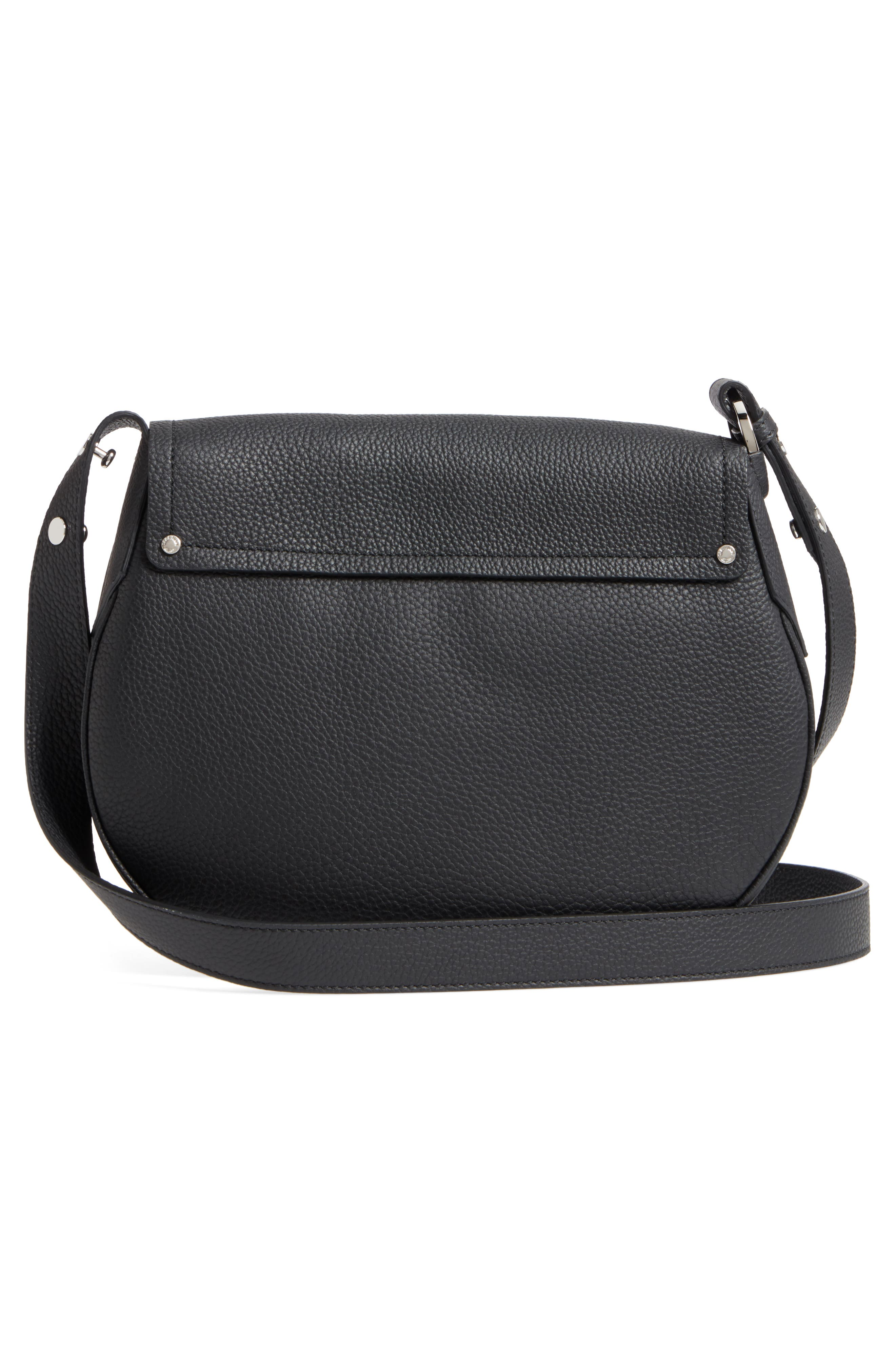 Small Valeria Leather Crossbody Bag,                             Alternate thumbnail 3, color,                             Black