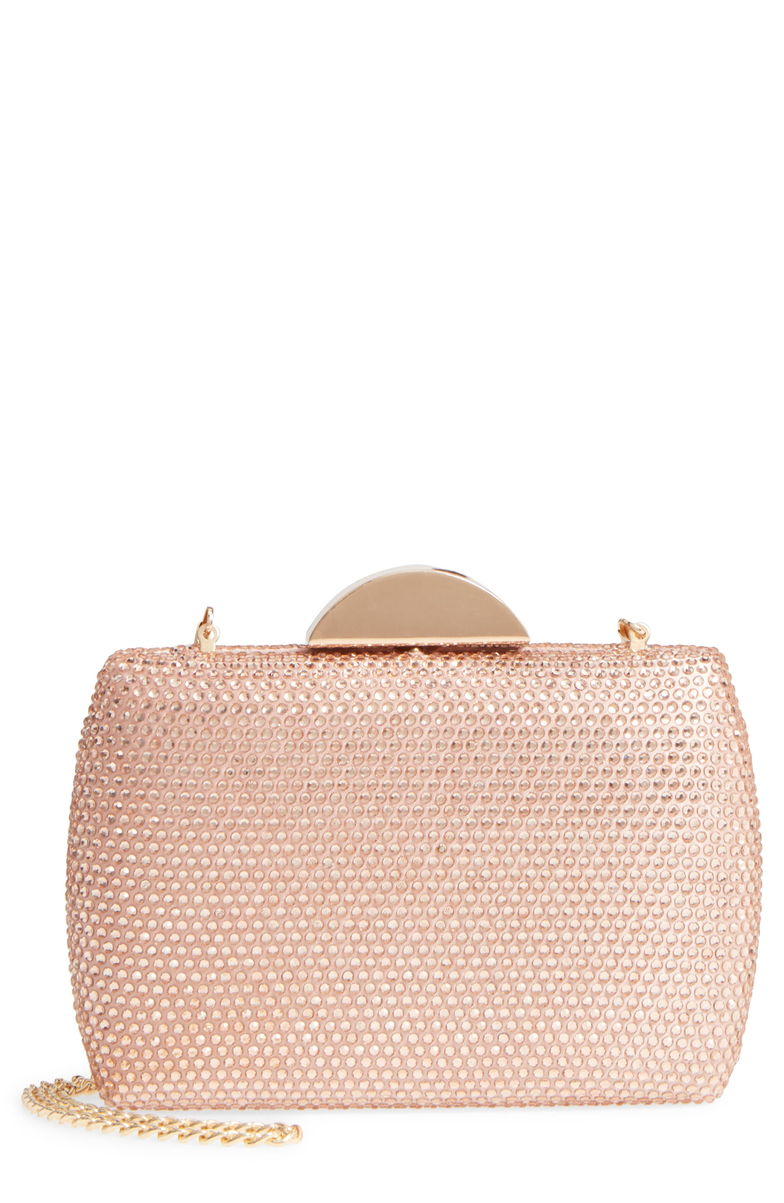 Pacey Crystal Minaudière,                         Main,                         color, Rose Gold