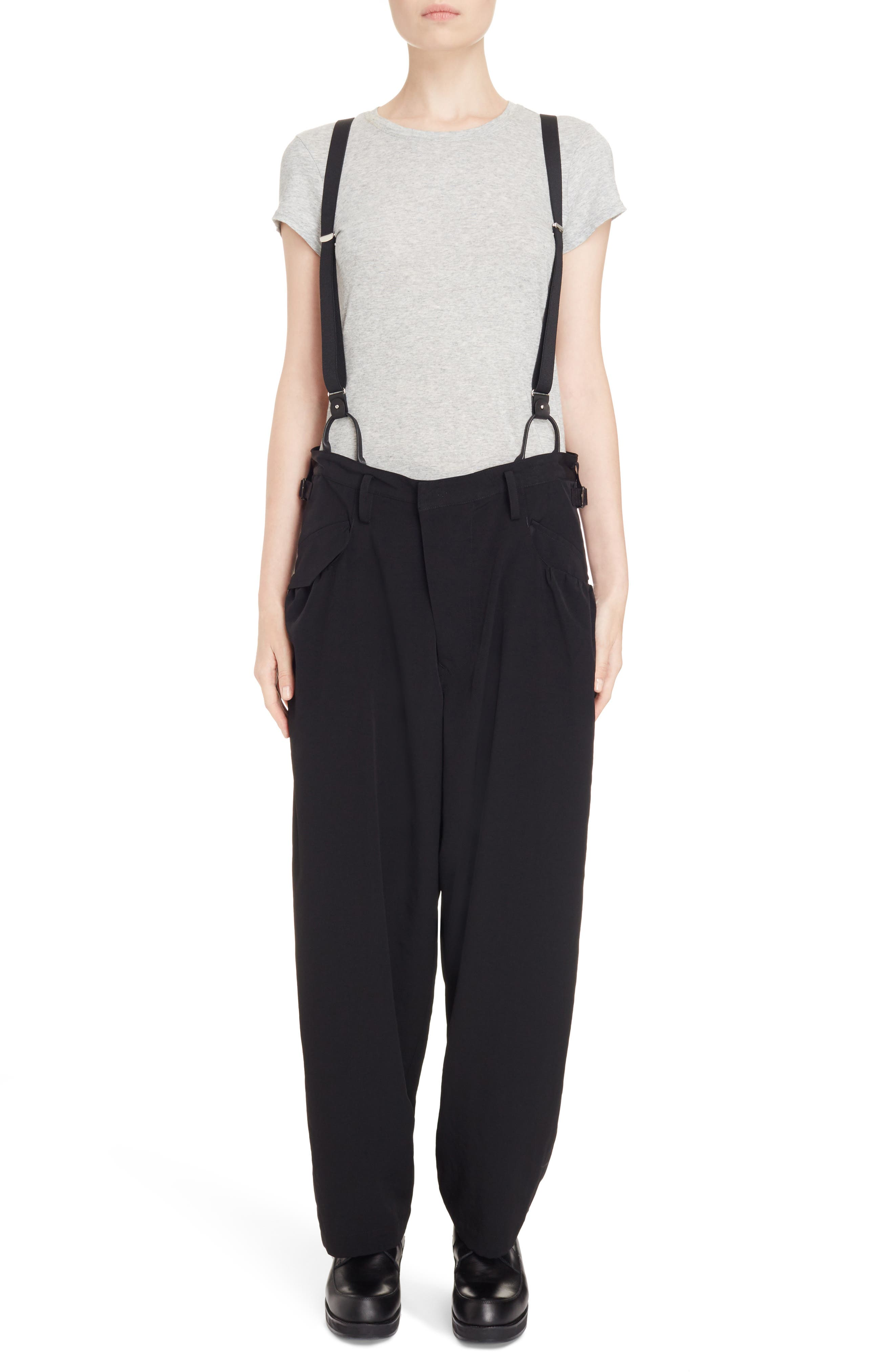 Pants with Suspenders,                         Main,                         color, Black
