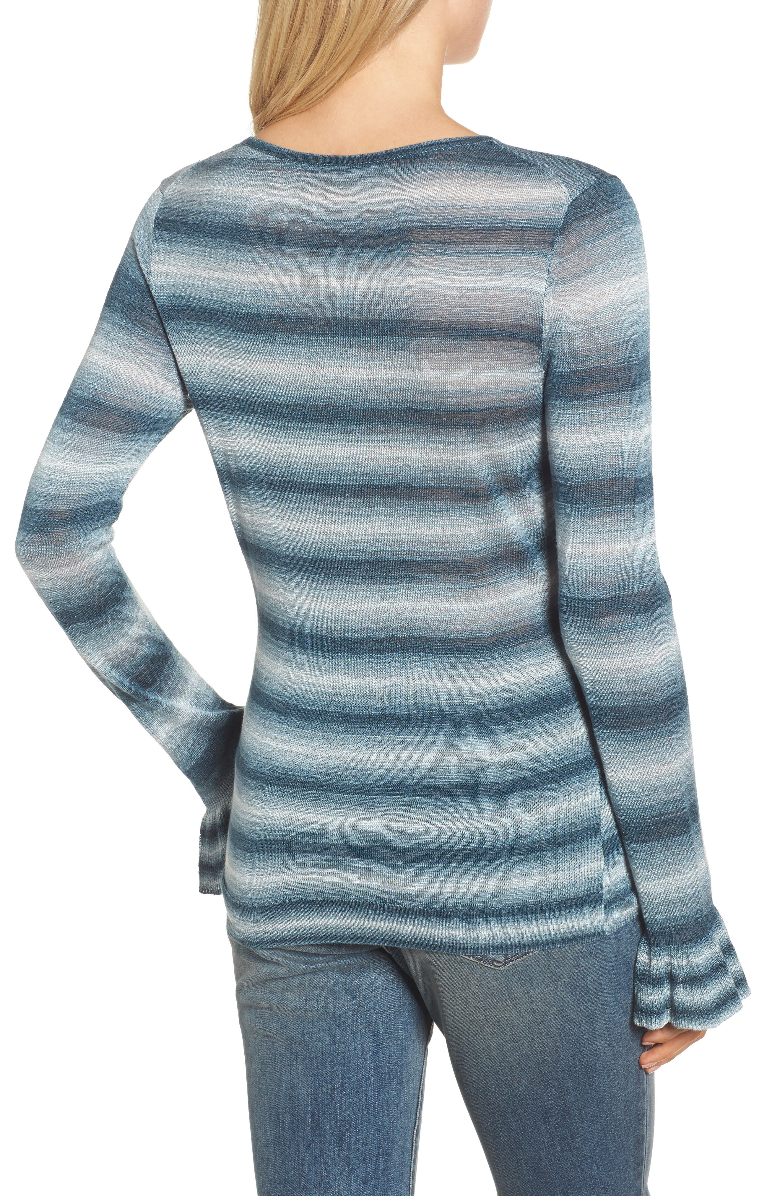 Gradient Stripe Sweater,                             Alternate thumbnail 2, color,                             Teal Abyss Combo