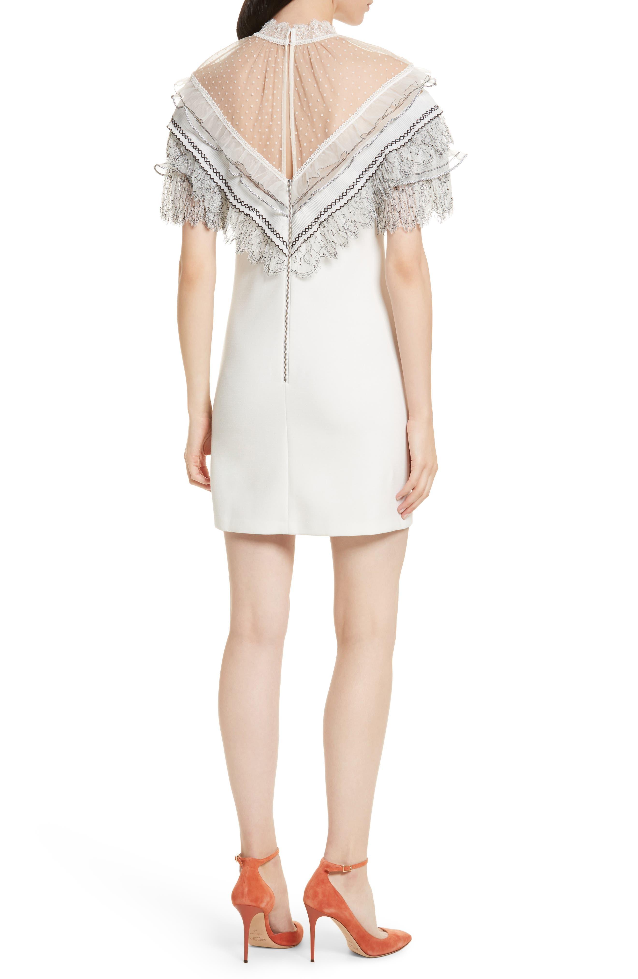 Pleated Lace Trim Minidress,                             Alternate thumbnail 2, color,                             Ivory
