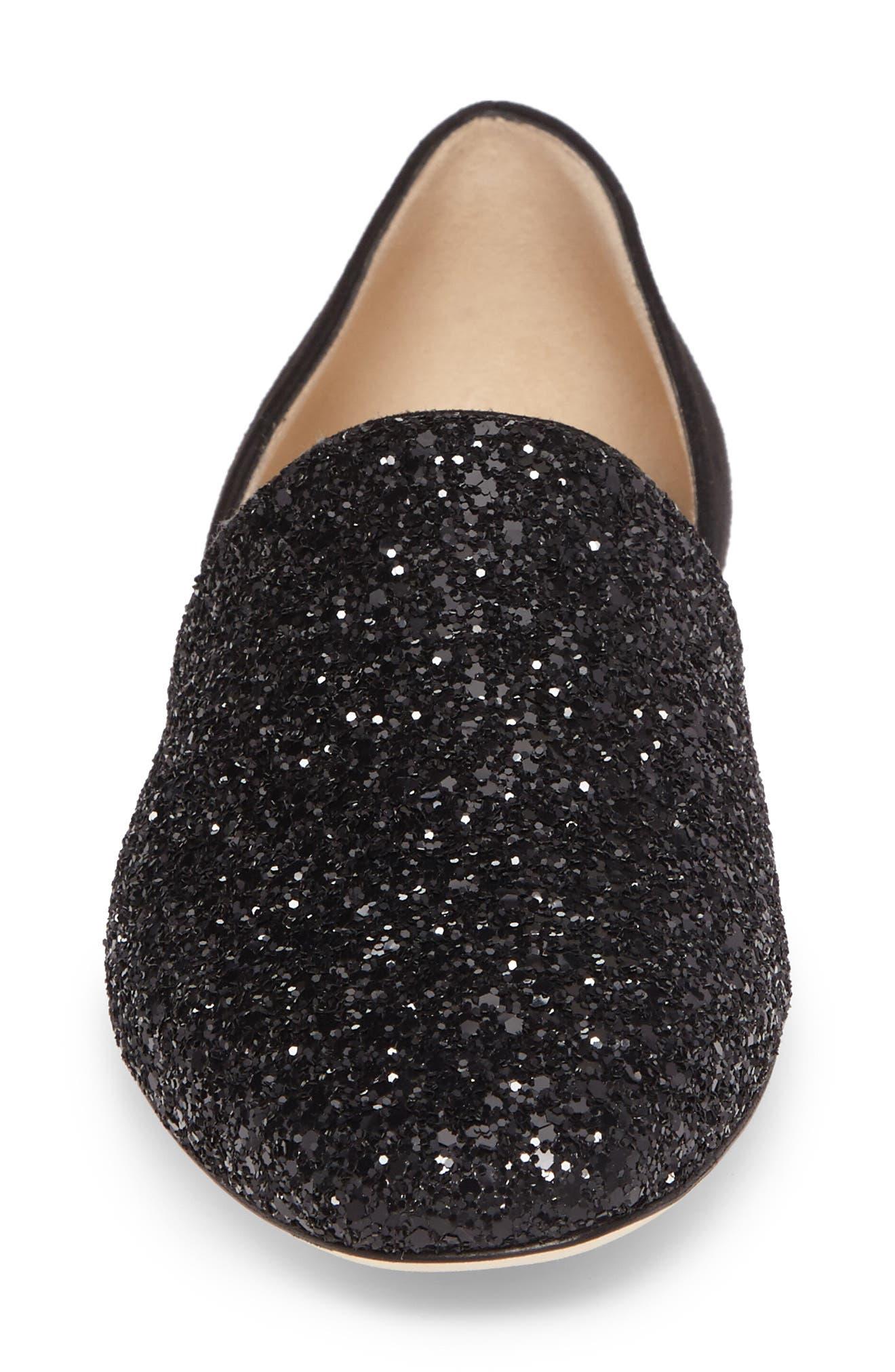 Globe Glitter Flat,                             Alternate thumbnail 4, color,                             Black/ Black