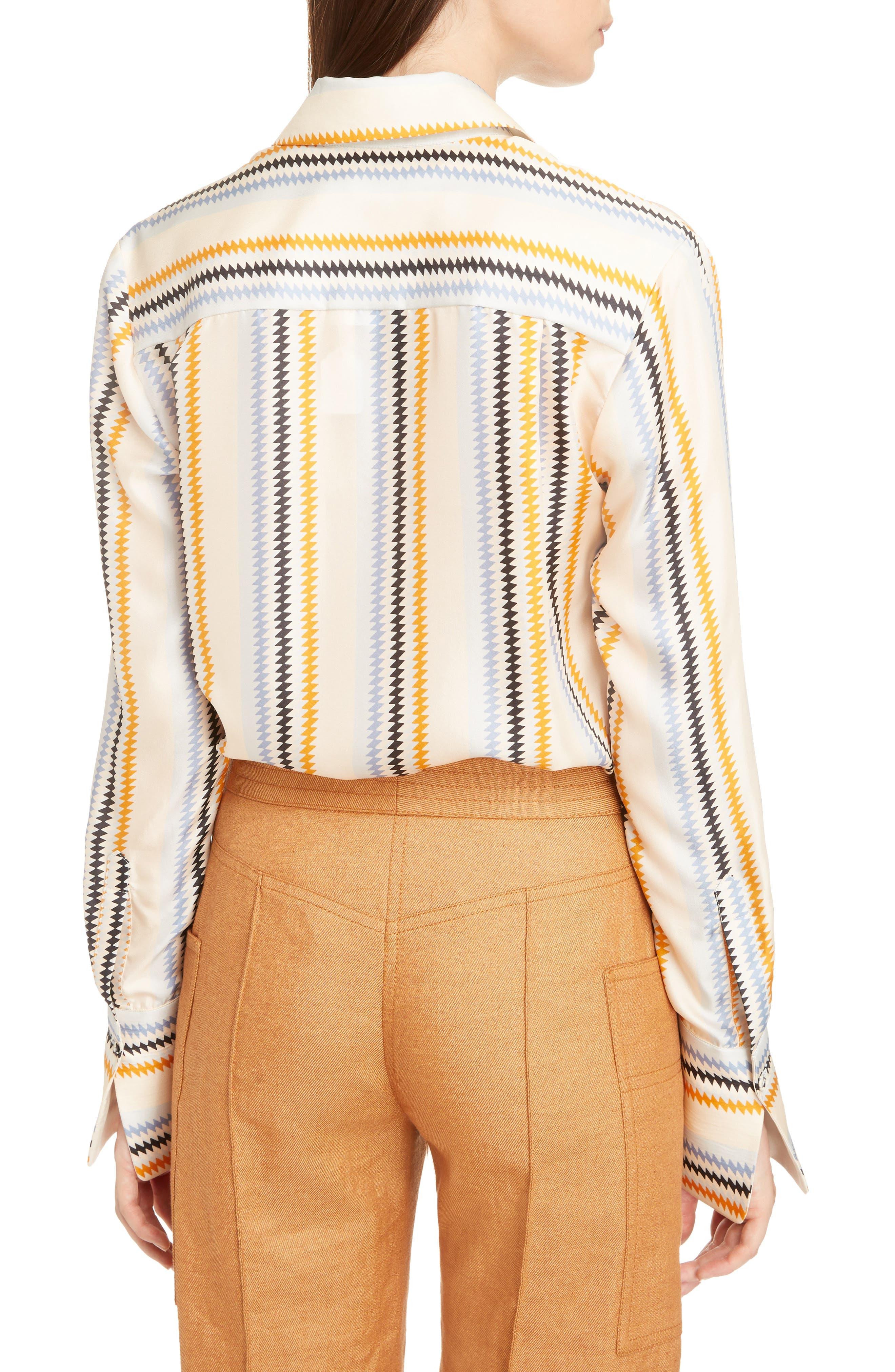 Fluid Stripe Silk Shirt,                             Alternate thumbnail 2, color,                             Zig Zag Stripe