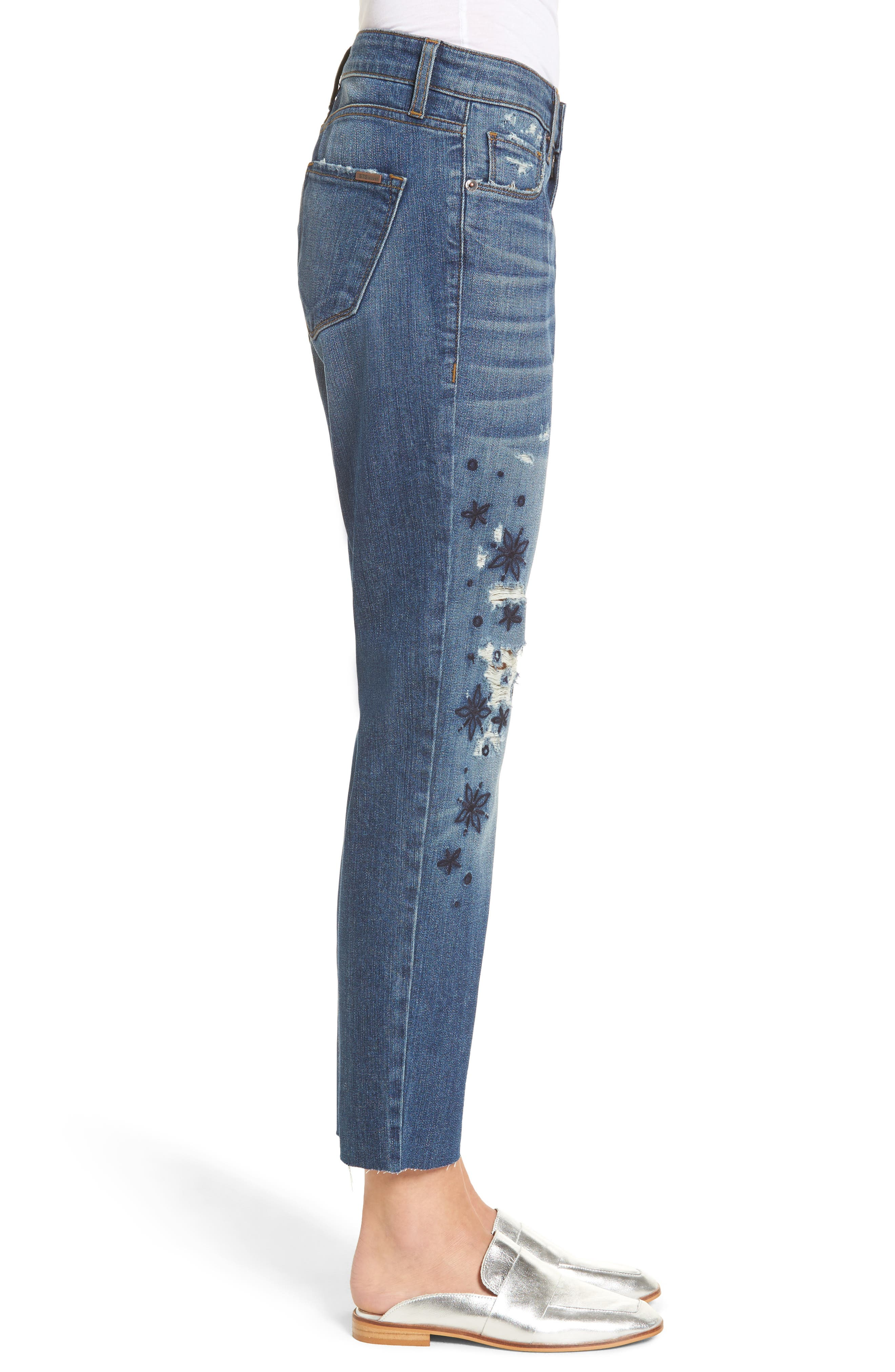 Taylor Ripped Embroidered Straight Leg Jeans,                             Alternate thumbnail 3, color,                             Rosedale