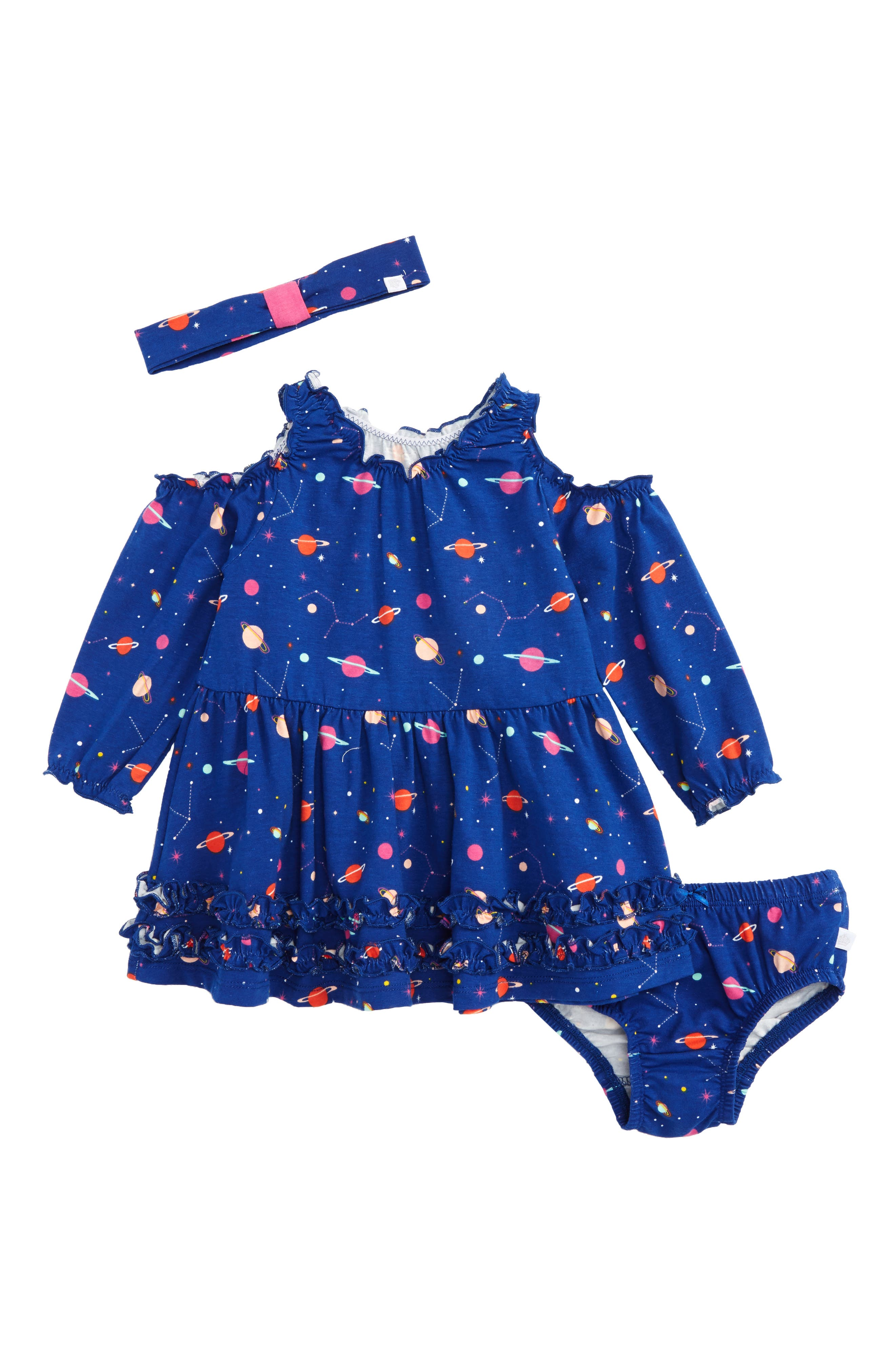 Rosie Pope Space Print Cold Shoulder Dress & Headband Set (Baby Girls)