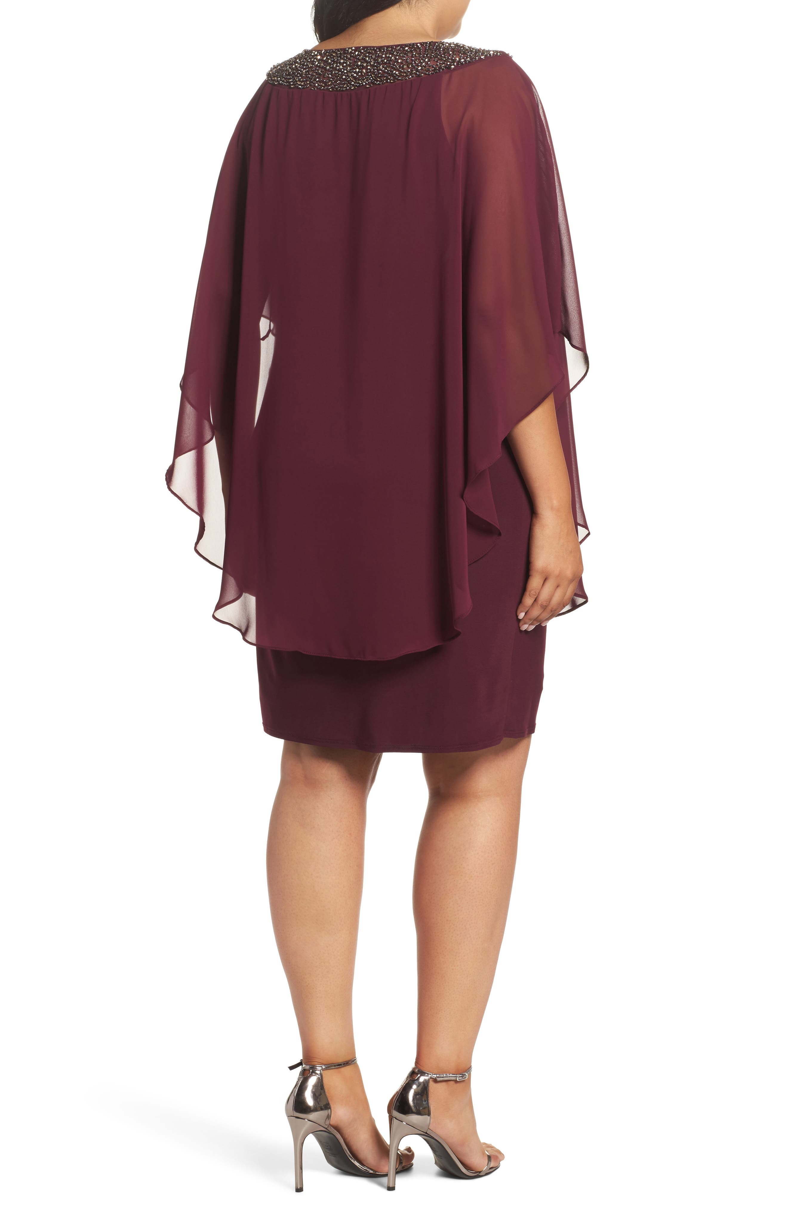 Alternate Image 2  - Xscape Embellished Chiffon Overlay Jersey Sheath Dress (Plus Size)