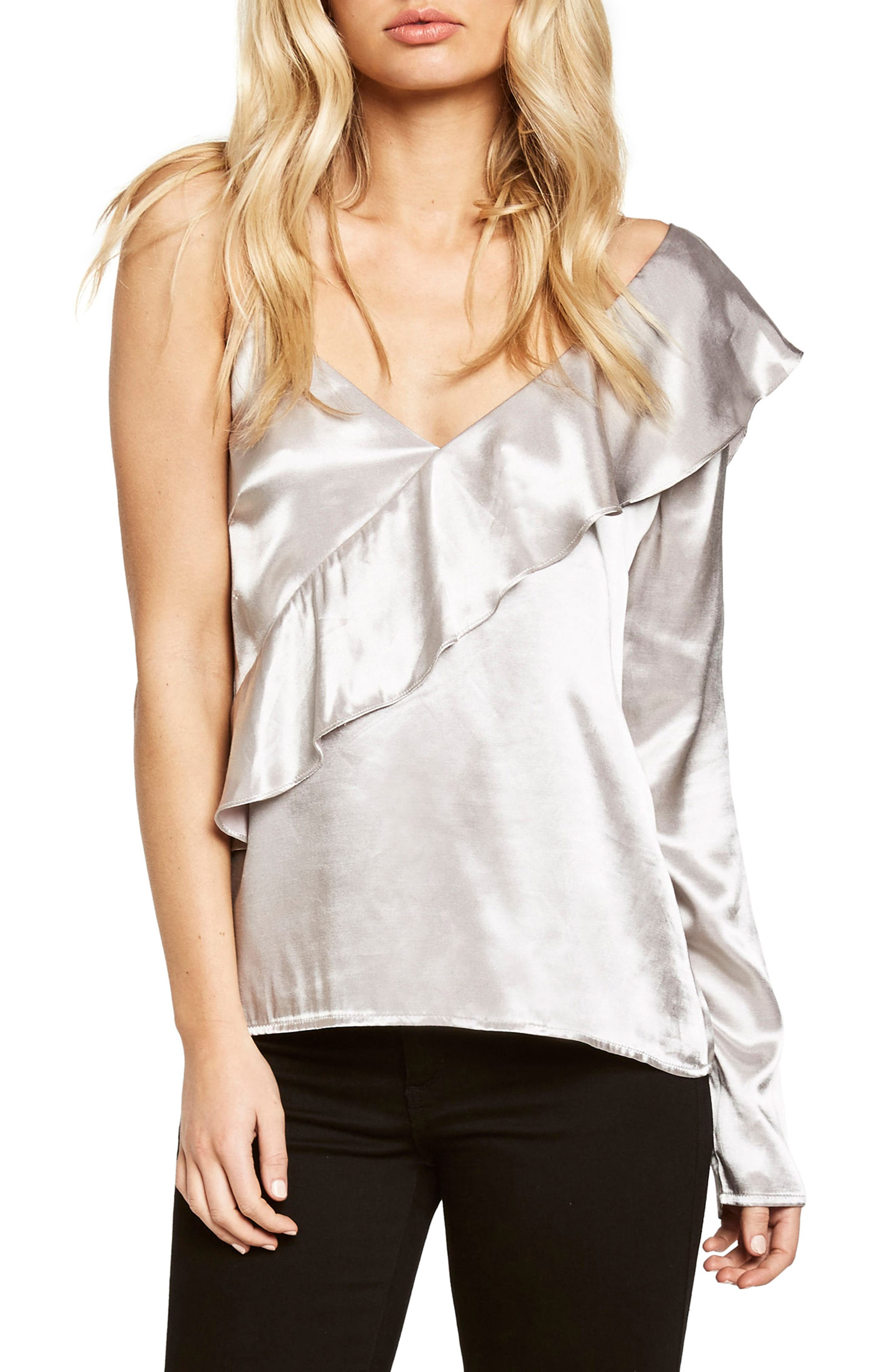 Frill Off the Shoulder Top,                         Main,                         color, Wind Chime