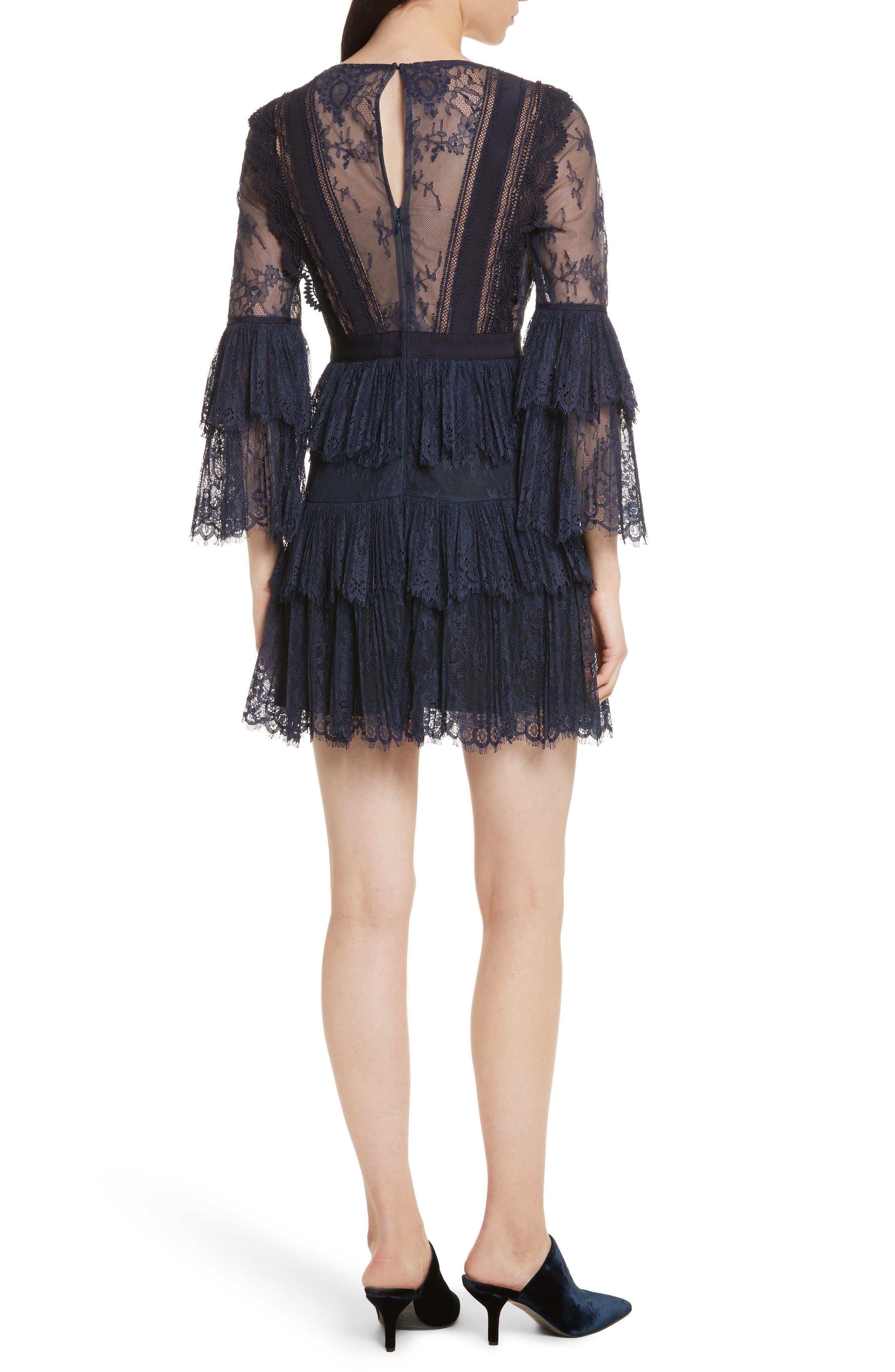 Pleated Lace Dress,                             Alternate thumbnail 2, color,                             Dark Blue