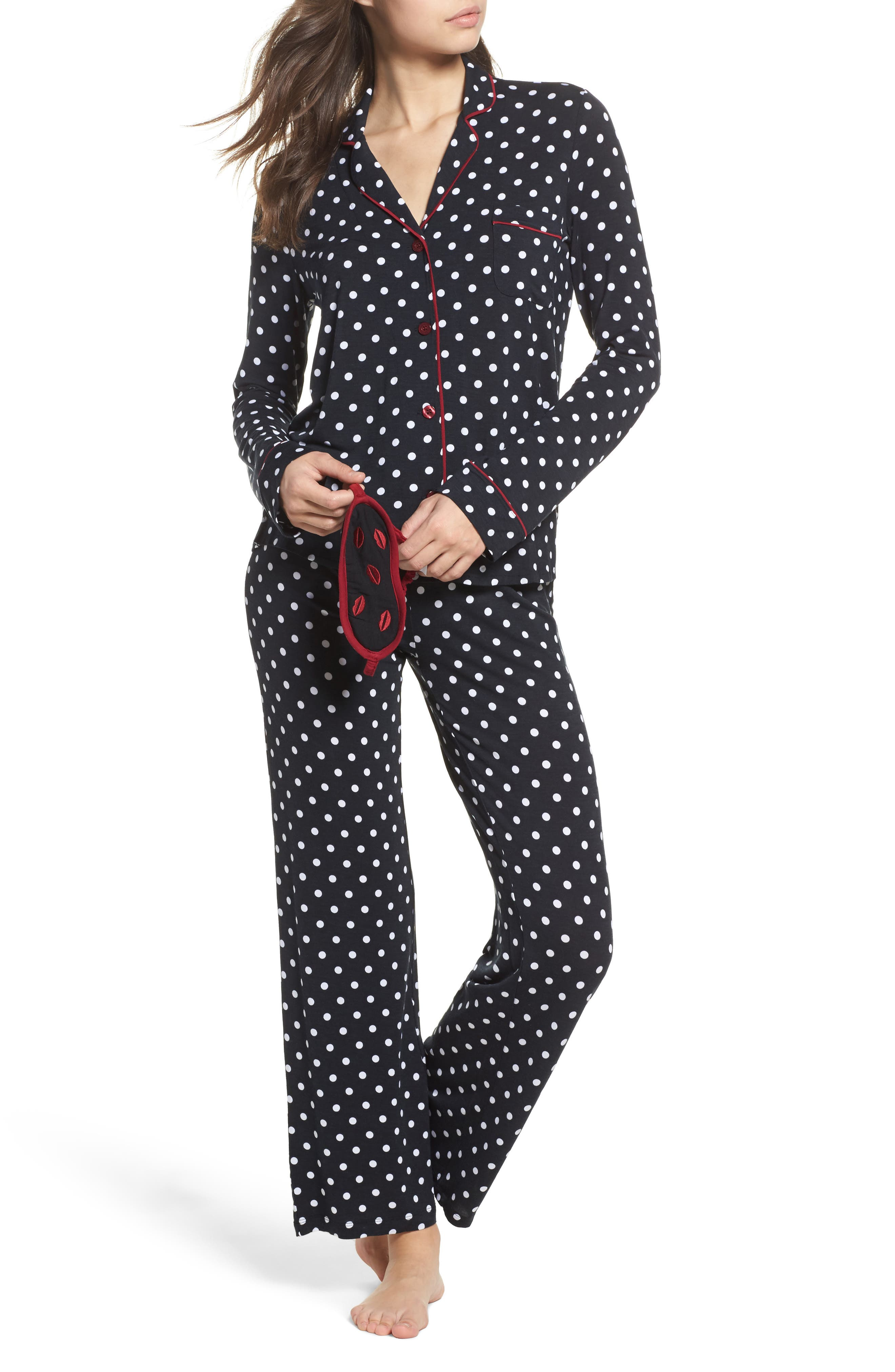 Stretch Modal Pajamas & Eye Mask,                             Main thumbnail 1, color,                             Black