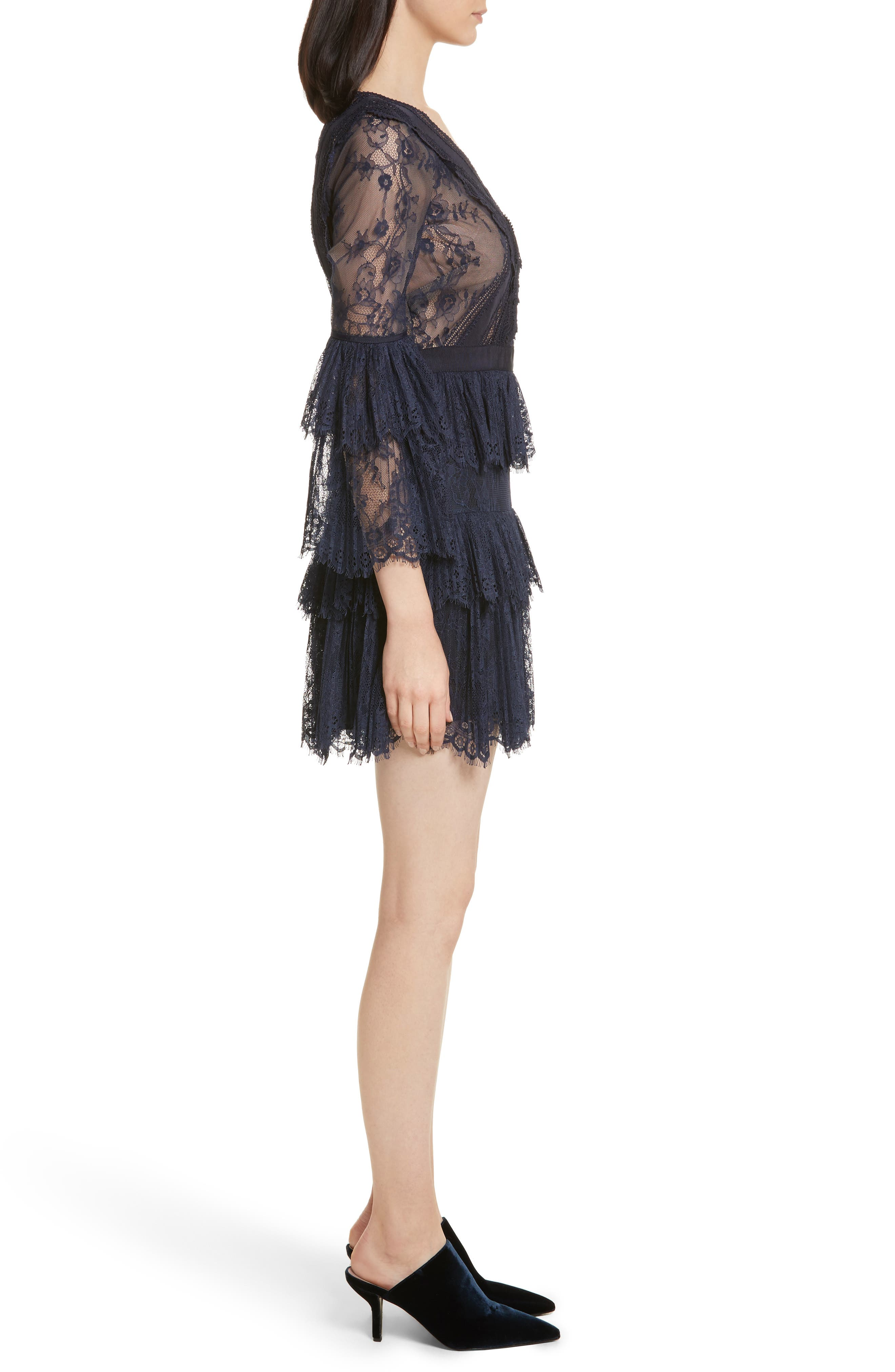 Pleated Lace Dress,                             Alternate thumbnail 3, color,                             Dark Blue