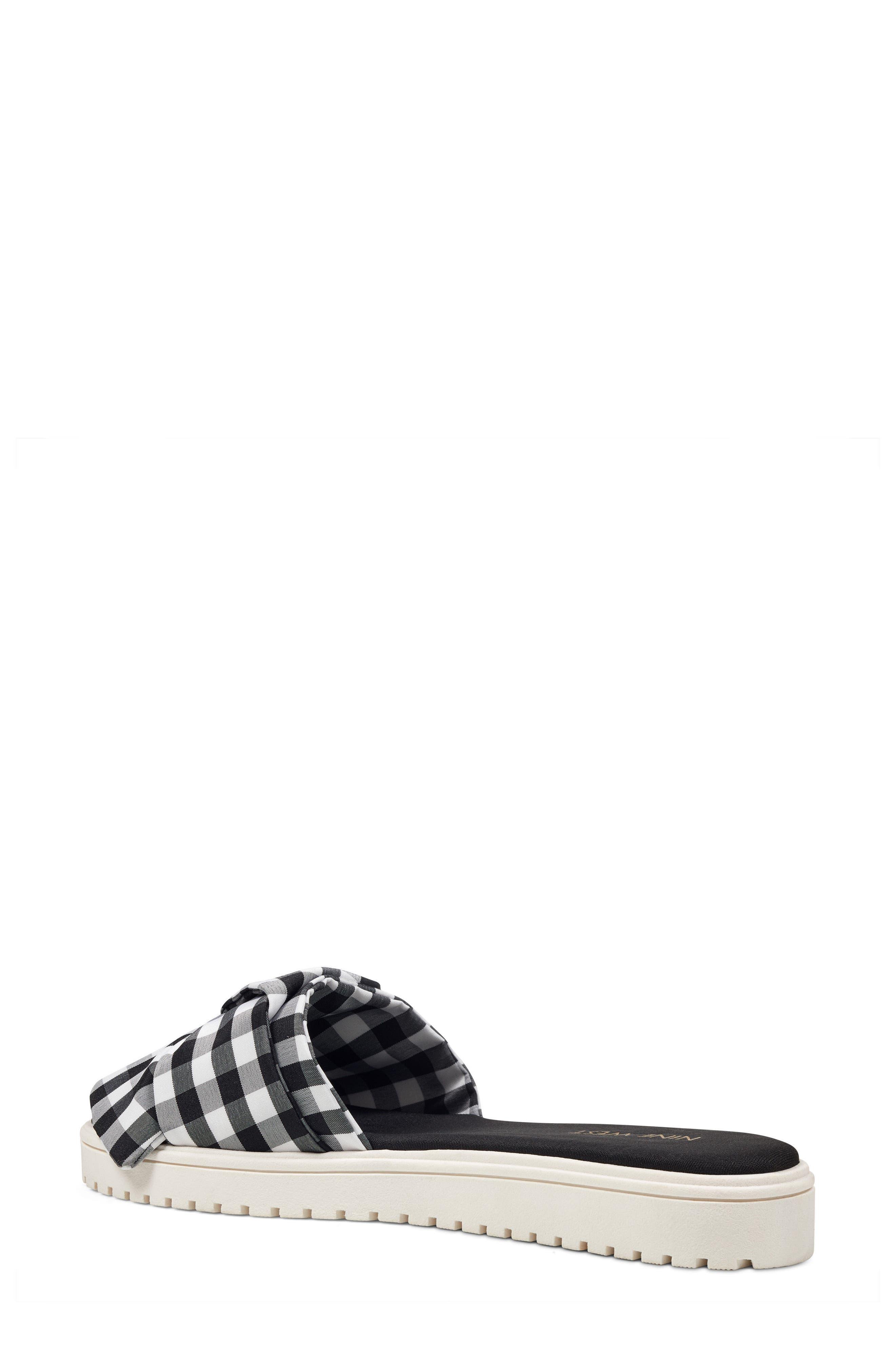 Ruth Slide Sandal,                             Alternate thumbnail 2, color,                             Black/ White Fabric