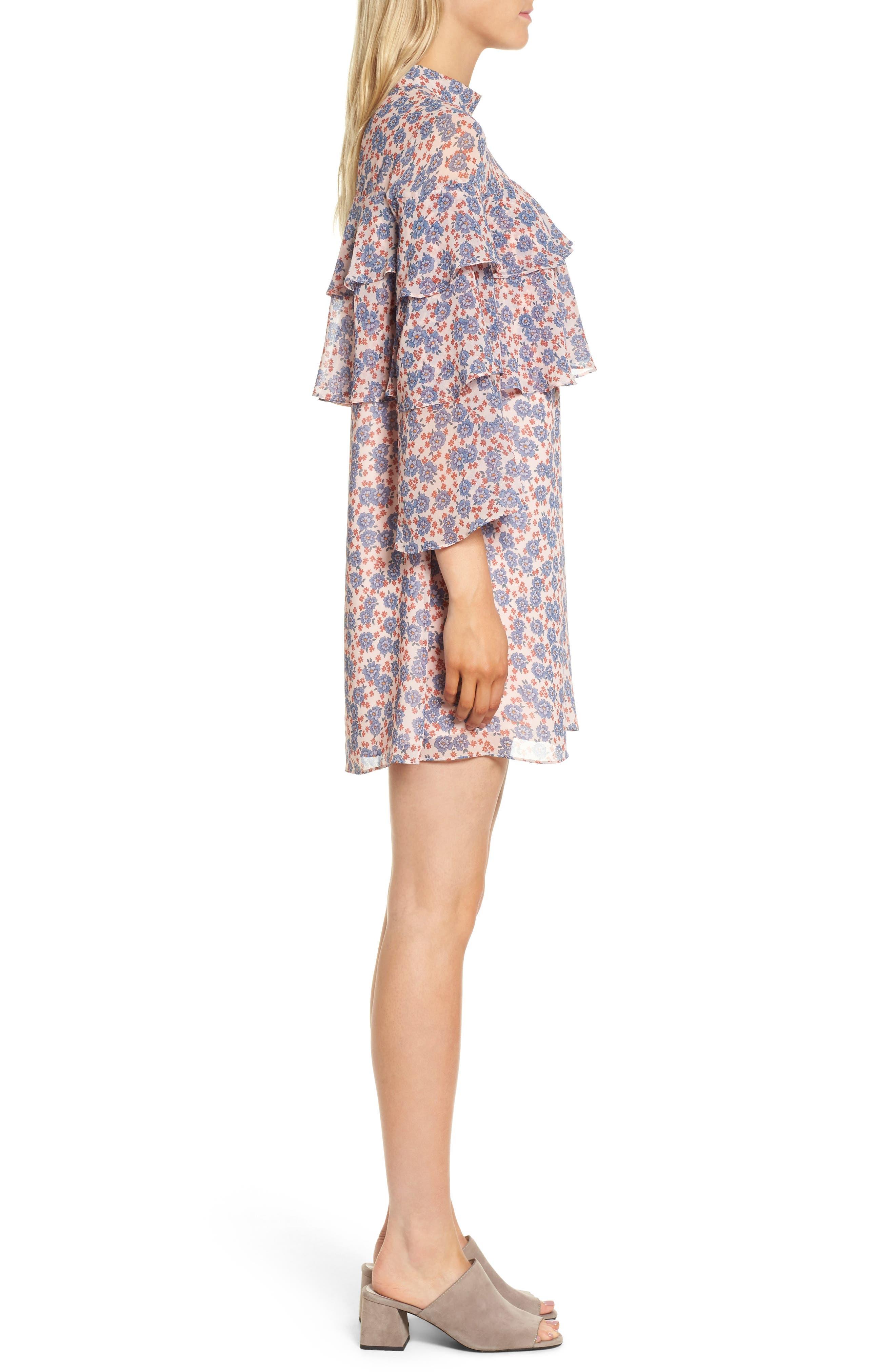 Darcy Ruffle Dress,                             Alternate thumbnail 3, color,                             Pink Multi