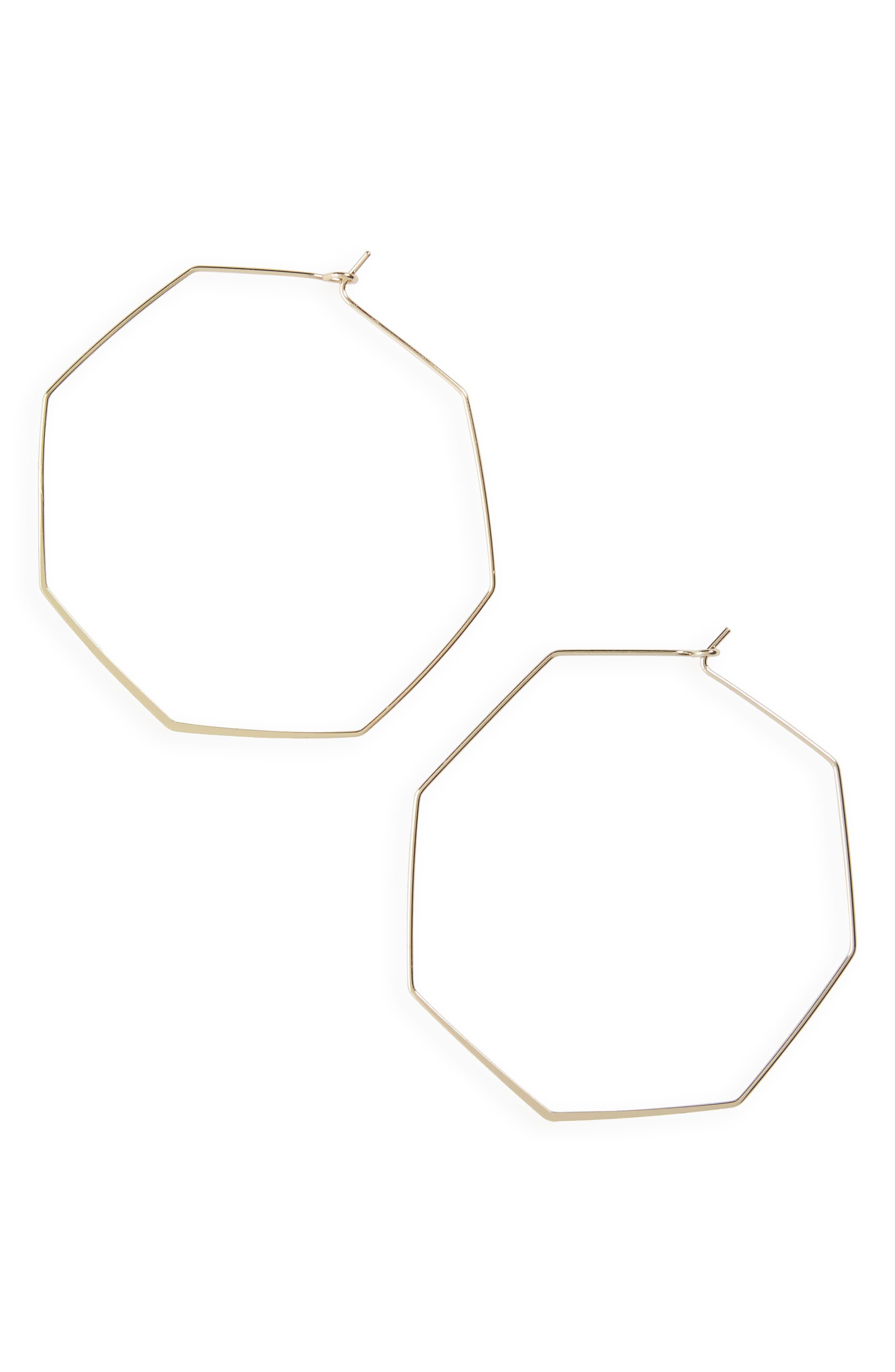Topshop Hexagon Hoop Earrings