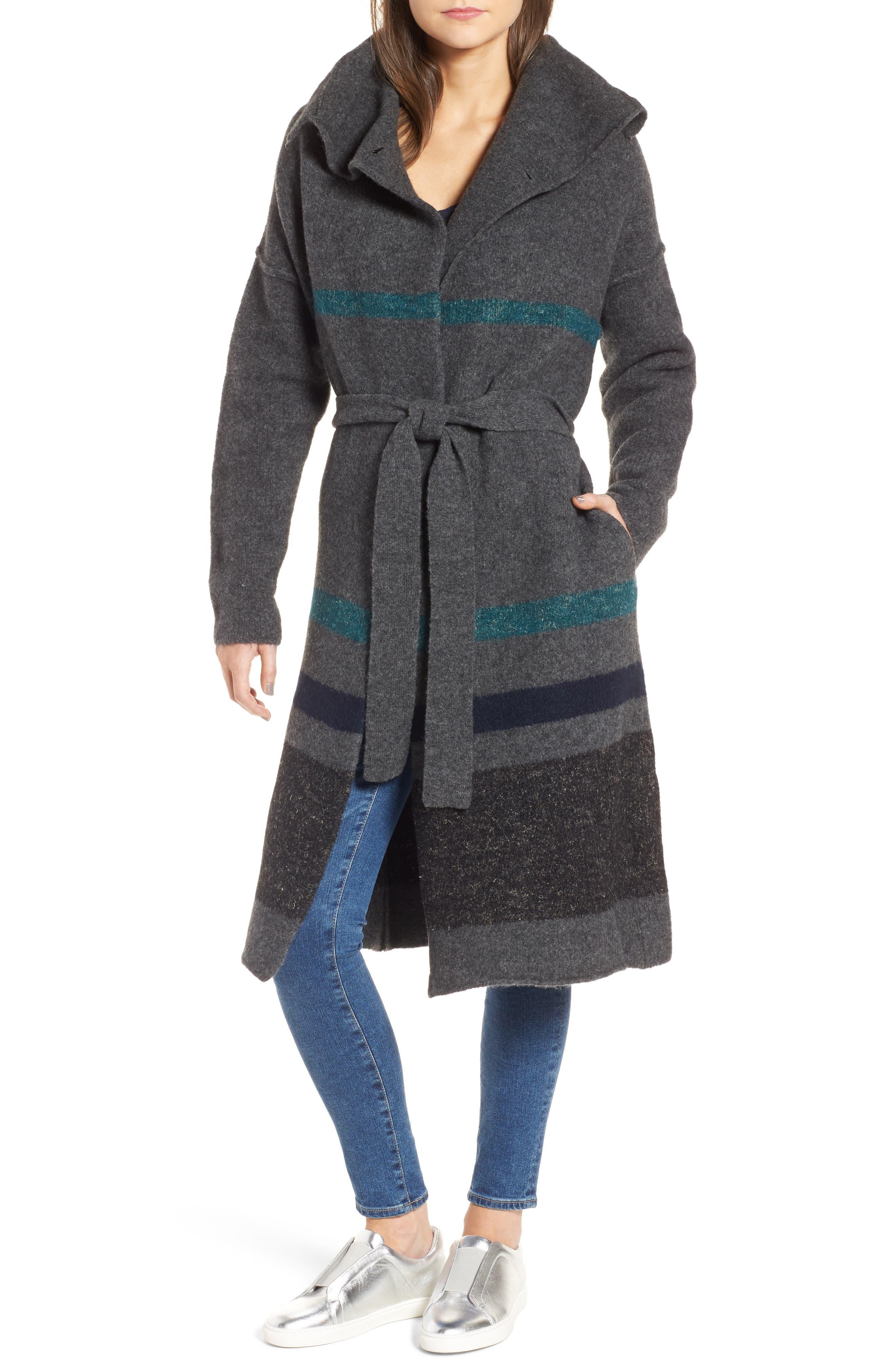 James Perse Belted Blanket Stripe Coat